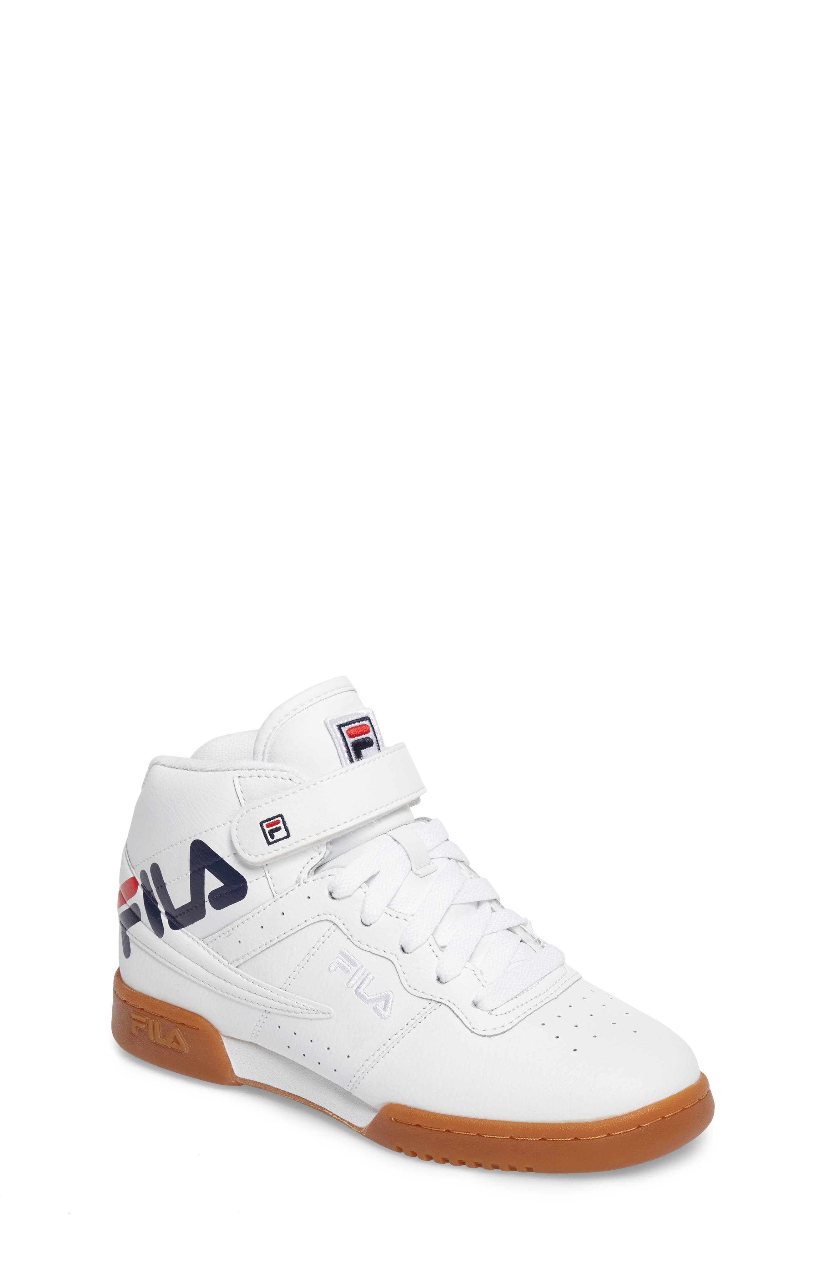 Original Fitness Logo Mid Top Sneaker,                             Main thumbnail 1, color,                             White/ Navy/ Red