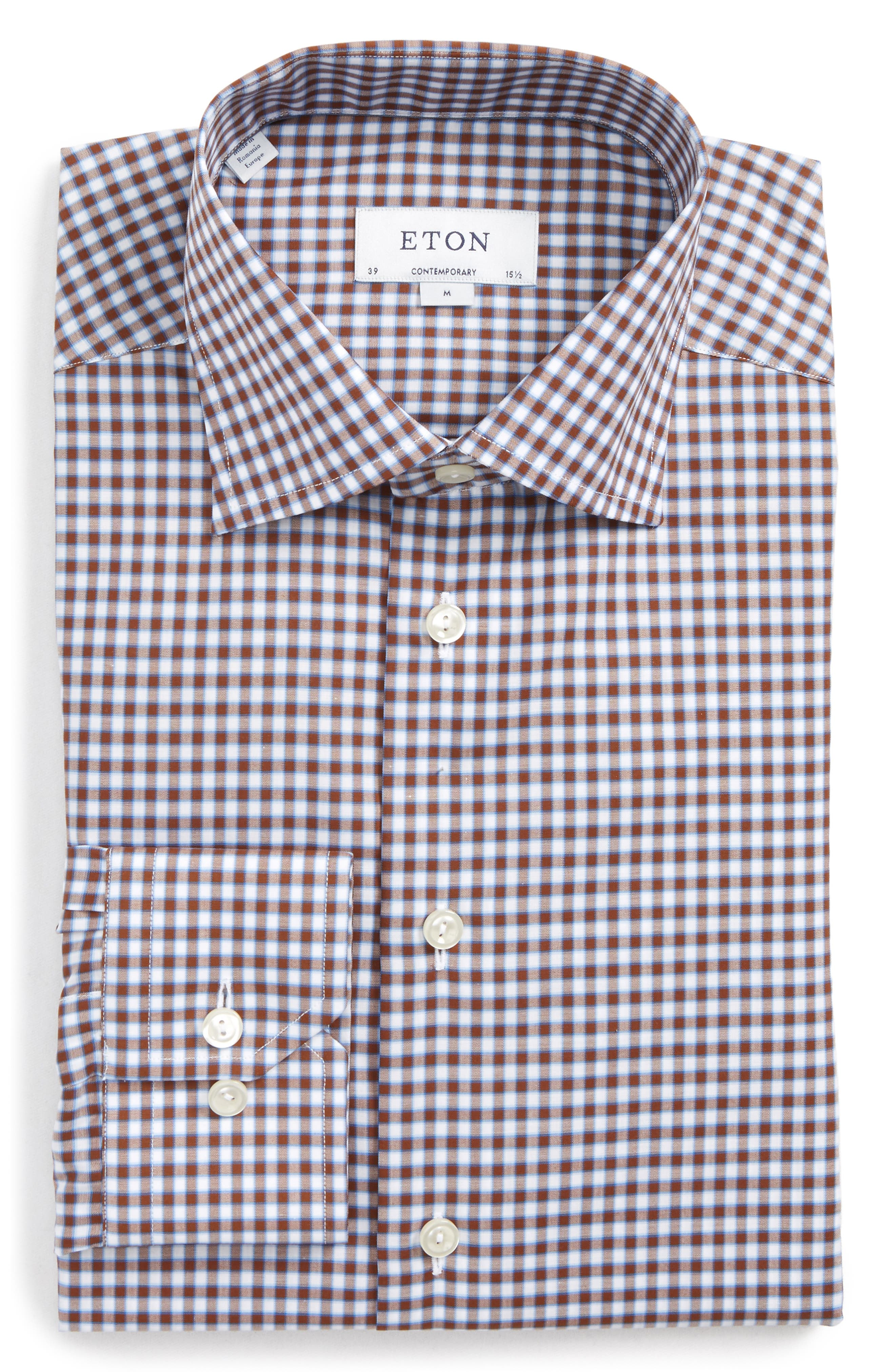Contemporary Fit Check Dress Shirt,                             Main thumbnail 1, color,                             Brown