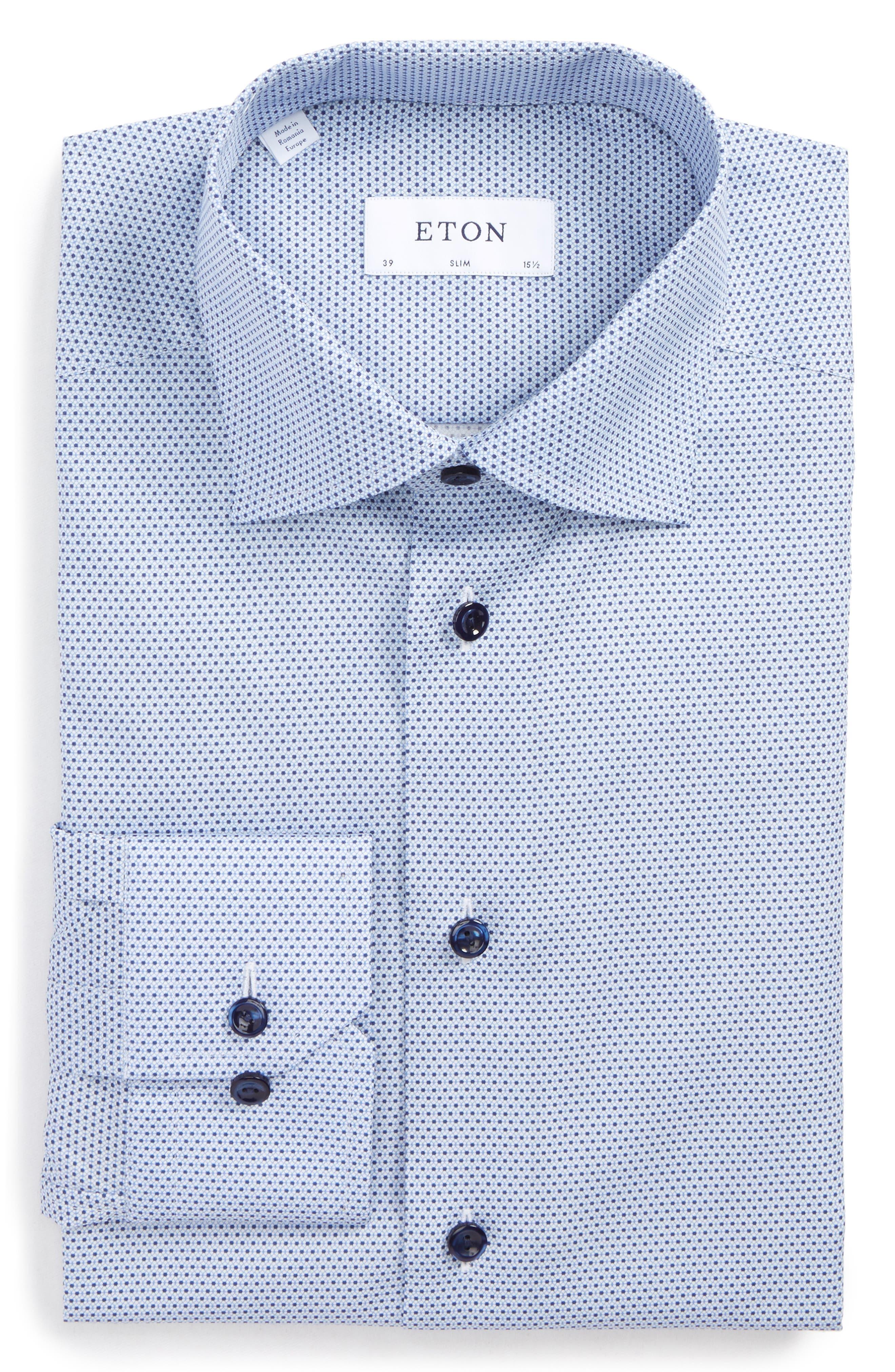 Slim Fit Microprint Dress Shirt,                             Main thumbnail 1, color,                             Blue