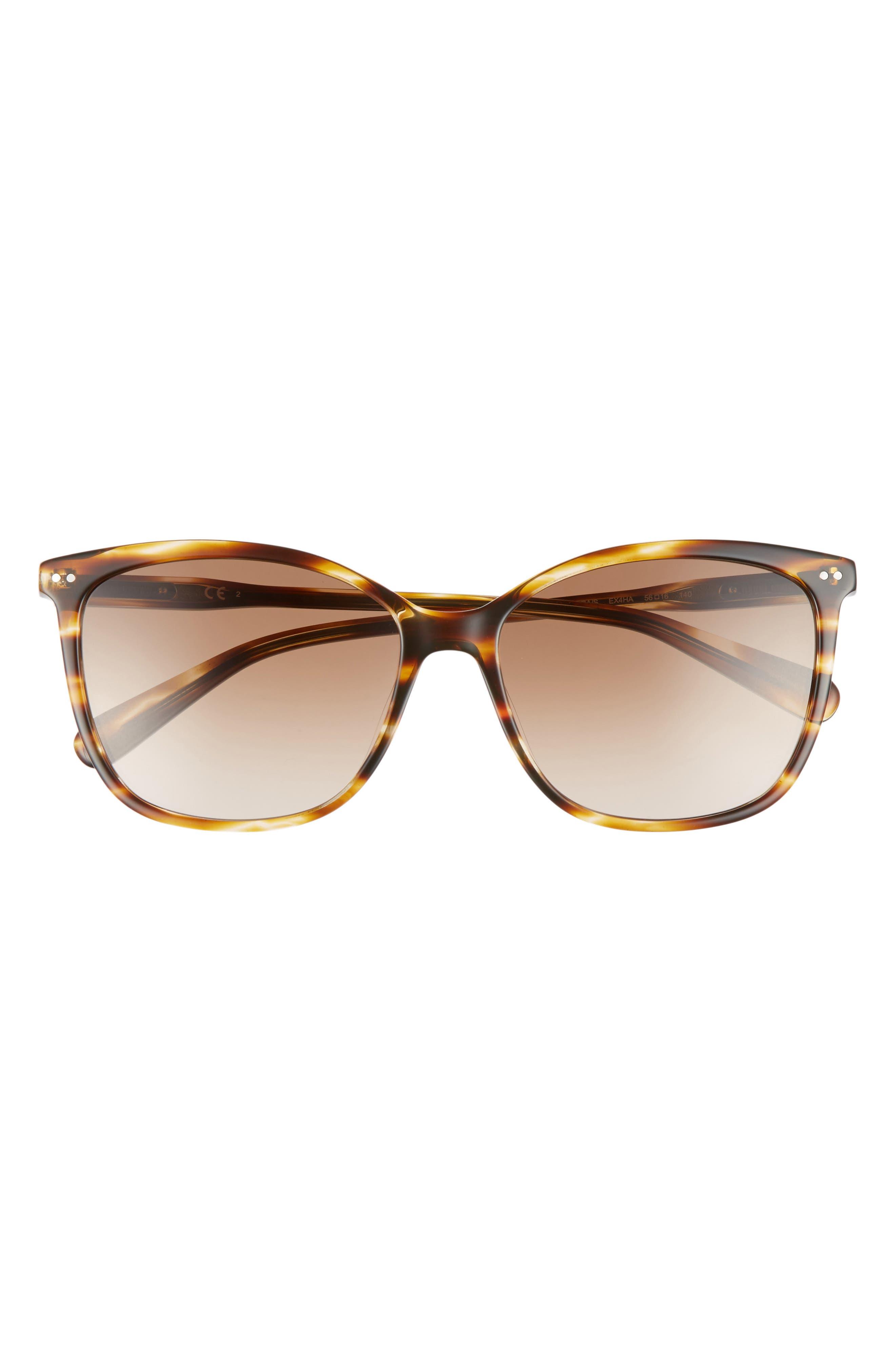 The Lara 56mm Cat Eye Sunglasses,                             Alternate thumbnail 3, color,                             Brown