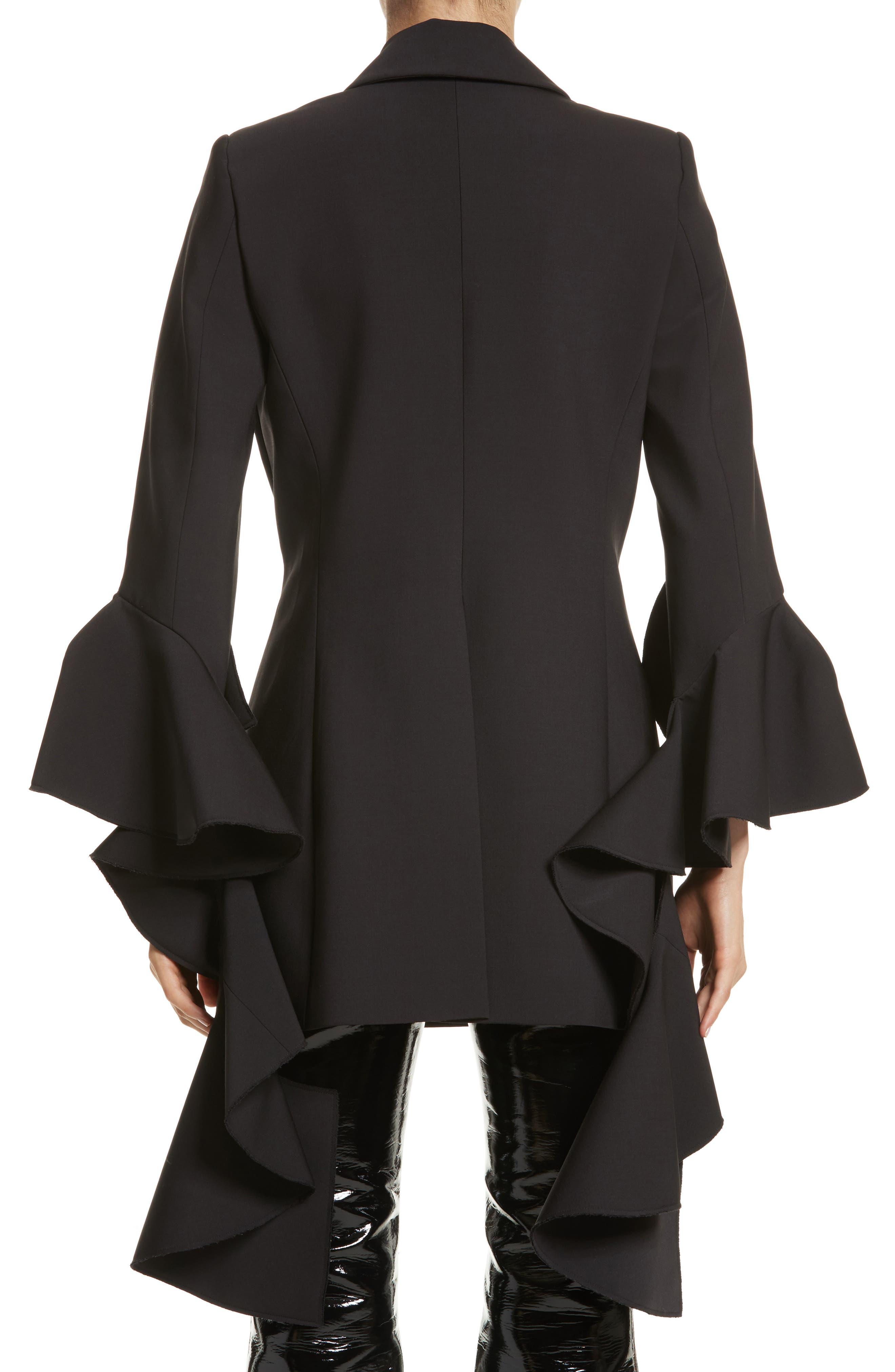 Forsaken Frill Sleeve Jacket,                             Alternate thumbnail 2, color,                             Black