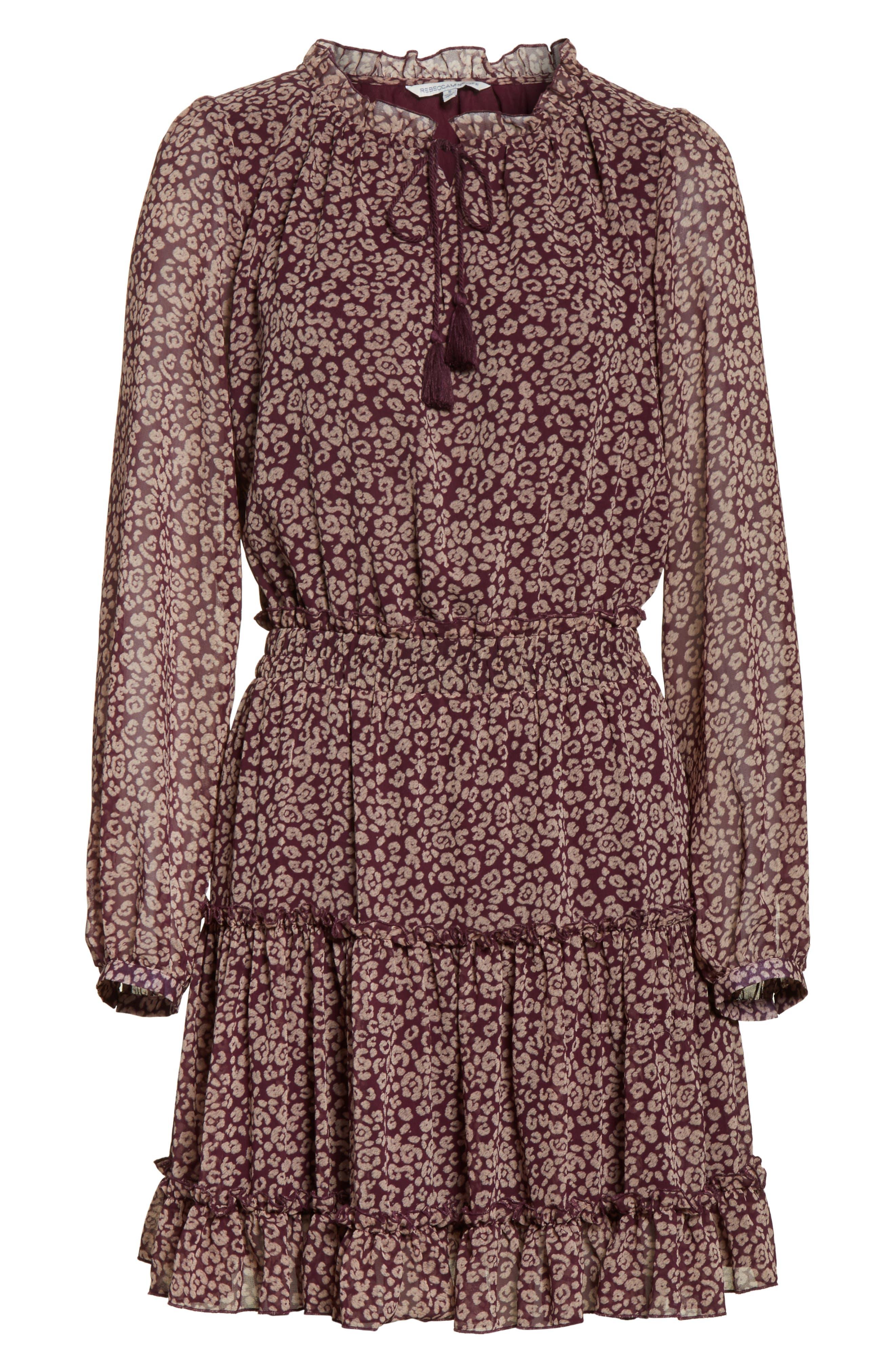 Rosemary A-Line Dress,                             Alternate thumbnail 6, color,                             Potent Purple Leopard