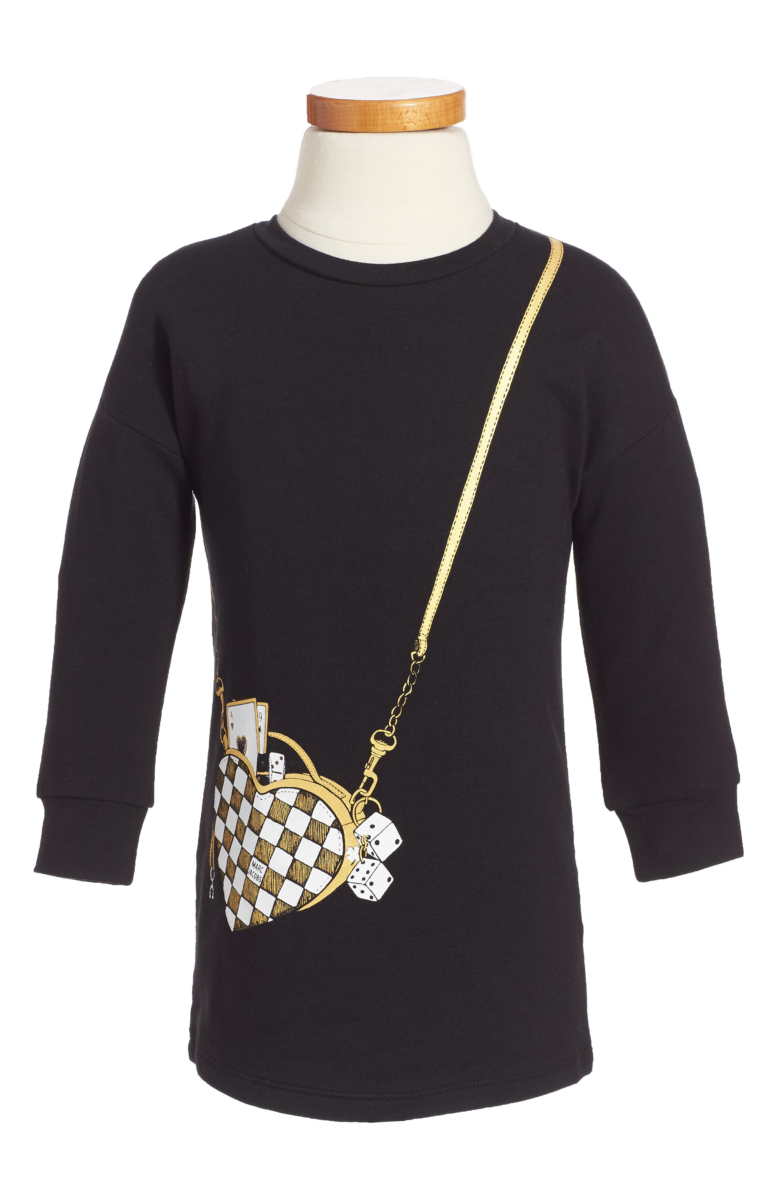 Trompe L'Oeil Sweatshirt Dress,                             Main thumbnail 1, color,                             Black