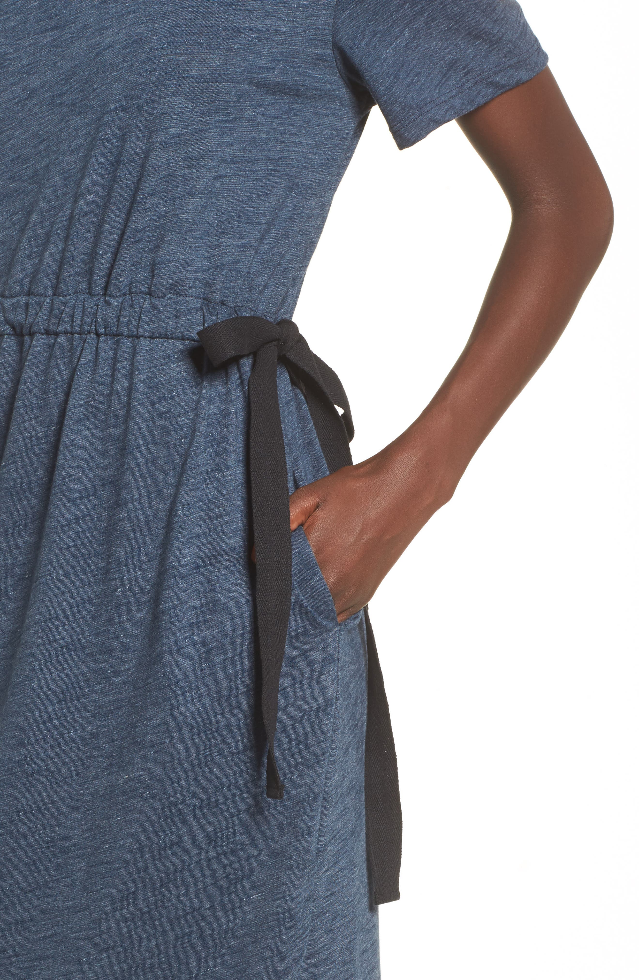 Side Tie Midi T-Shirt Dress,                             Alternate thumbnail 4, color,                             Navy Heather