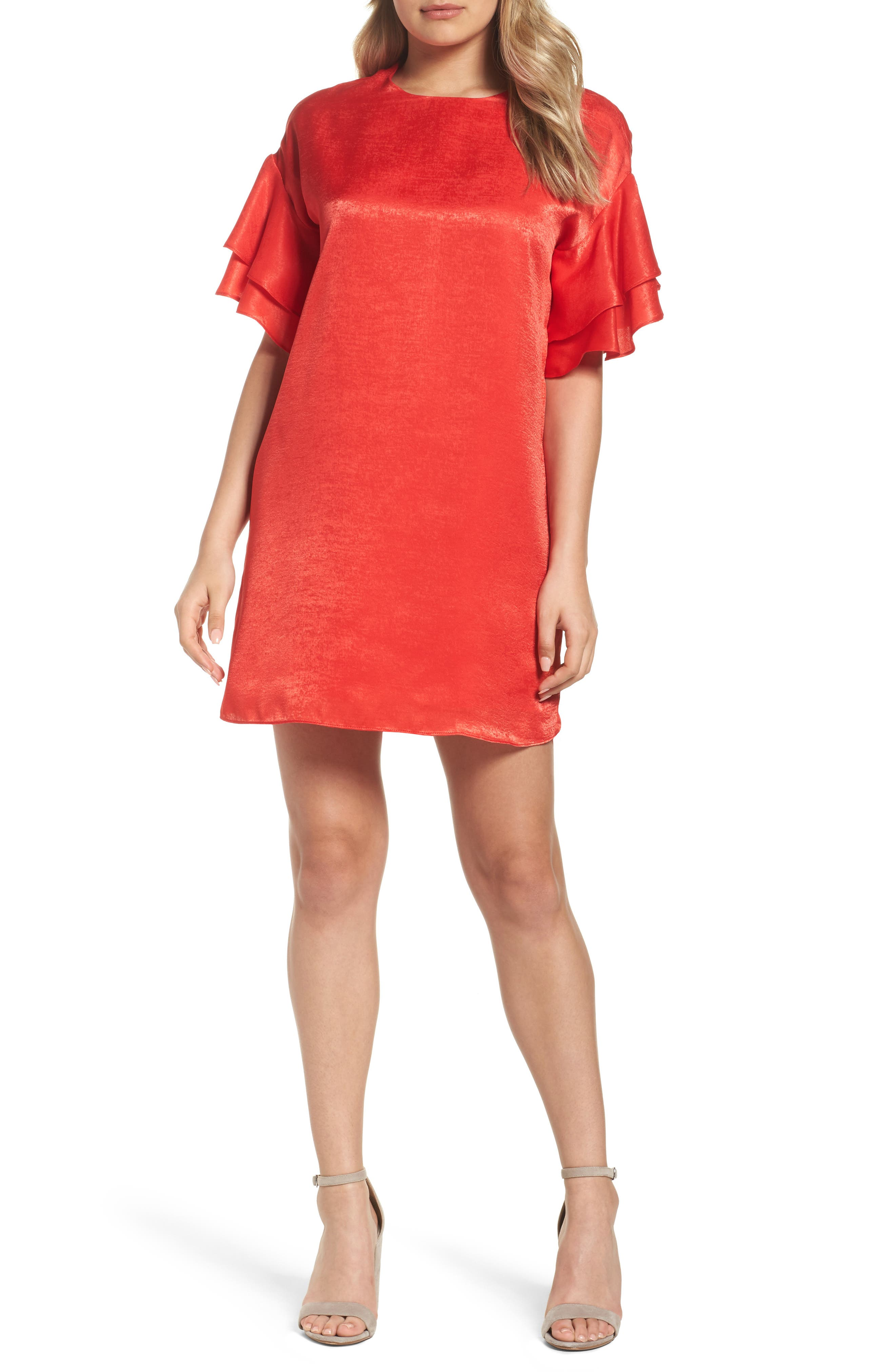 Ruffle Charmeuse Shift Dress,                         Main,                         color, Red