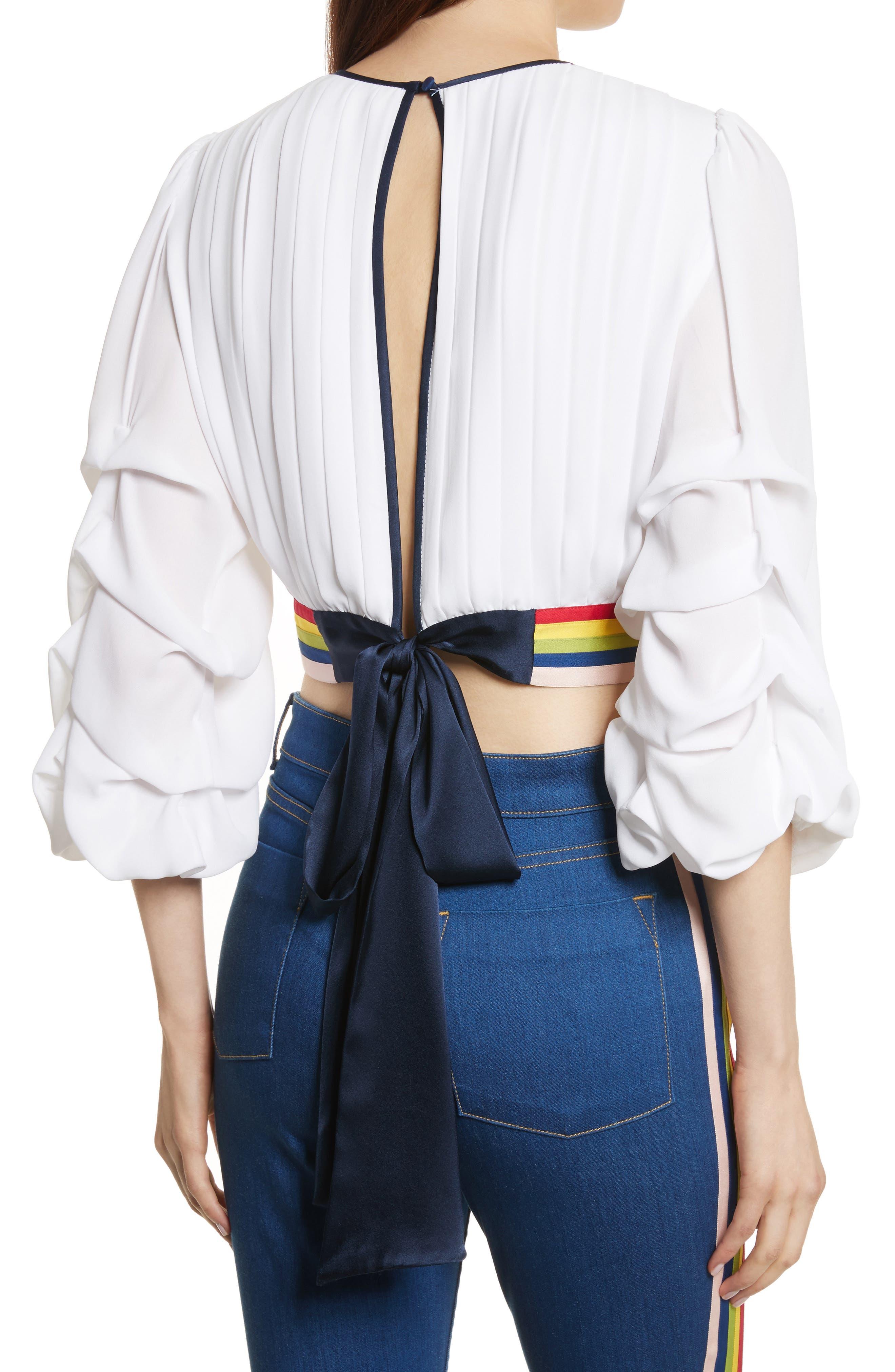 Dakota Tack Sleeve Top,                             Alternate thumbnail 2, color,                             White/ Multi