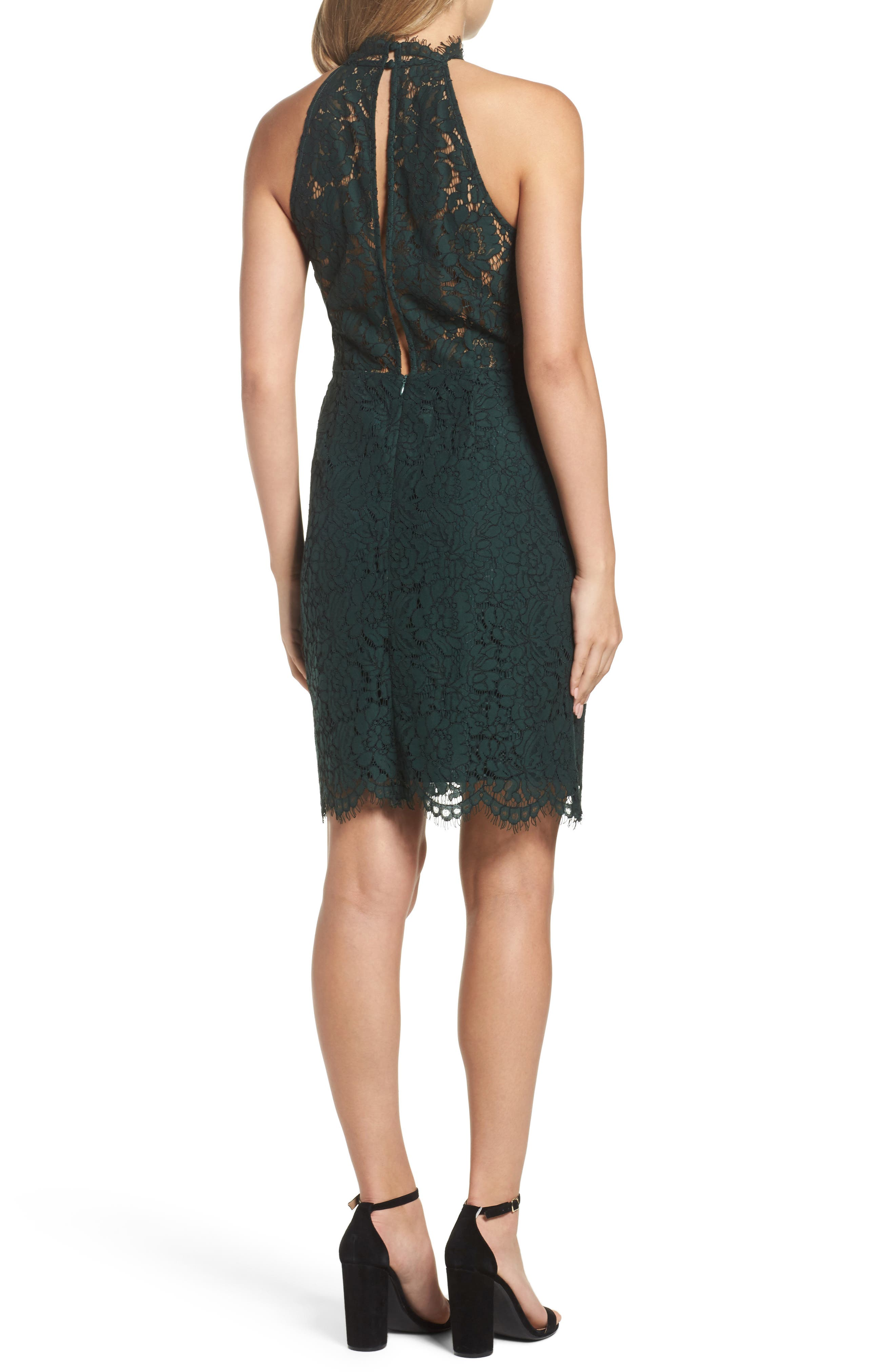 'Cara' High Neck Lace Dress,                             Alternate thumbnail 2, color,                             Forest Green
