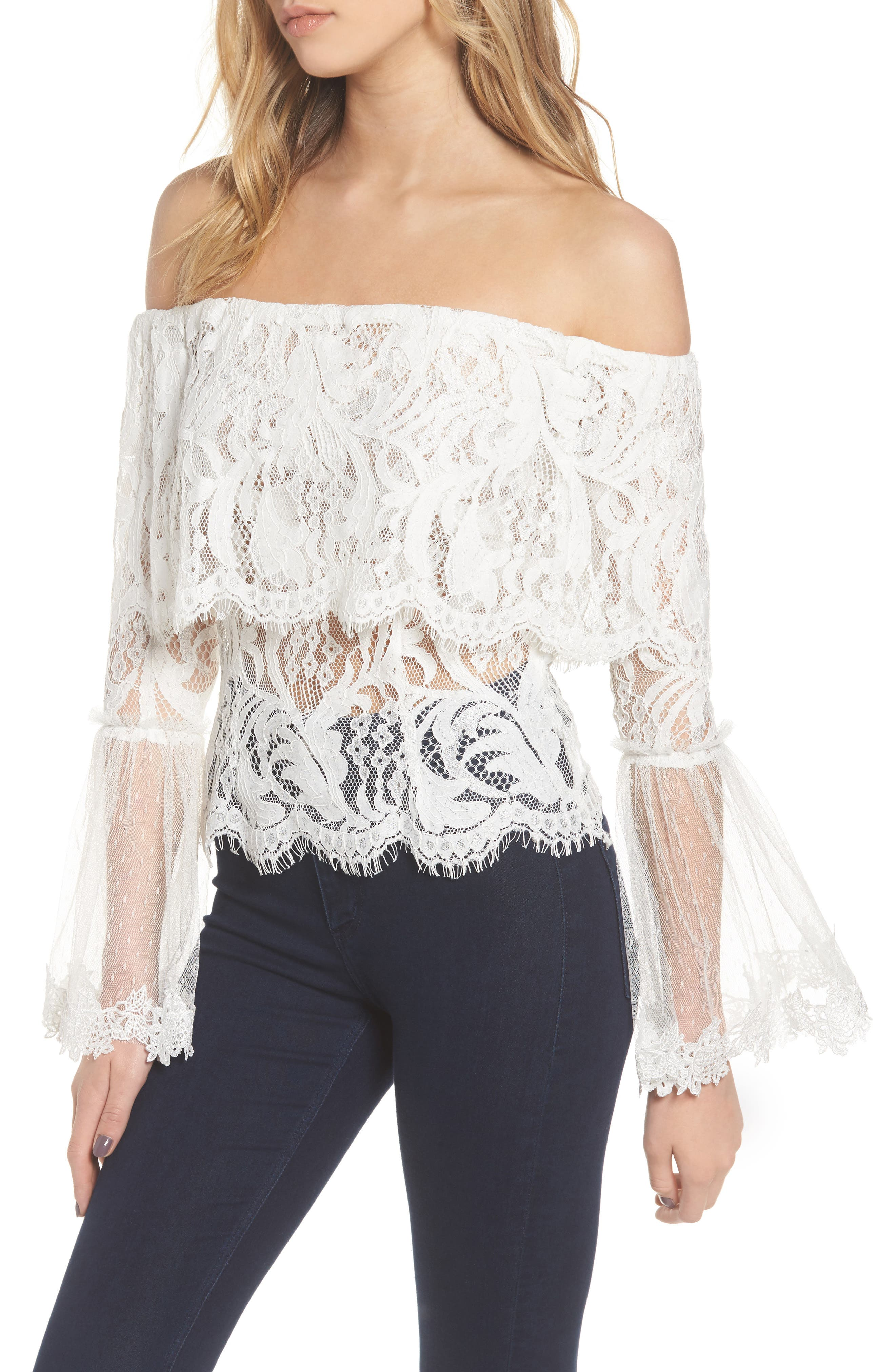 If You Dare Lace Off the Shoulder Blouse,                             Main thumbnail 1, color,                             Ivory