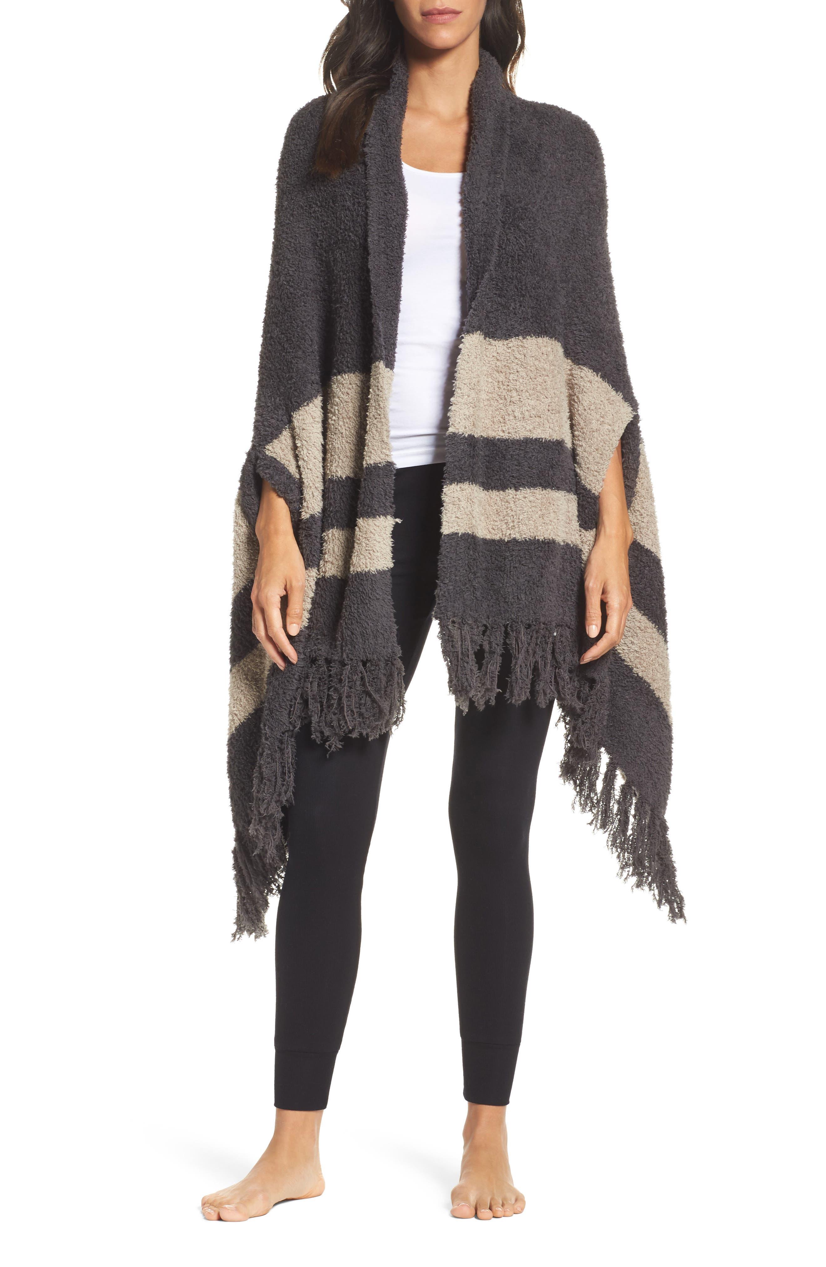 Cozychic<sup>®</sup> Malibu Wrap, Main, color, Carbon/ Sand Stripe