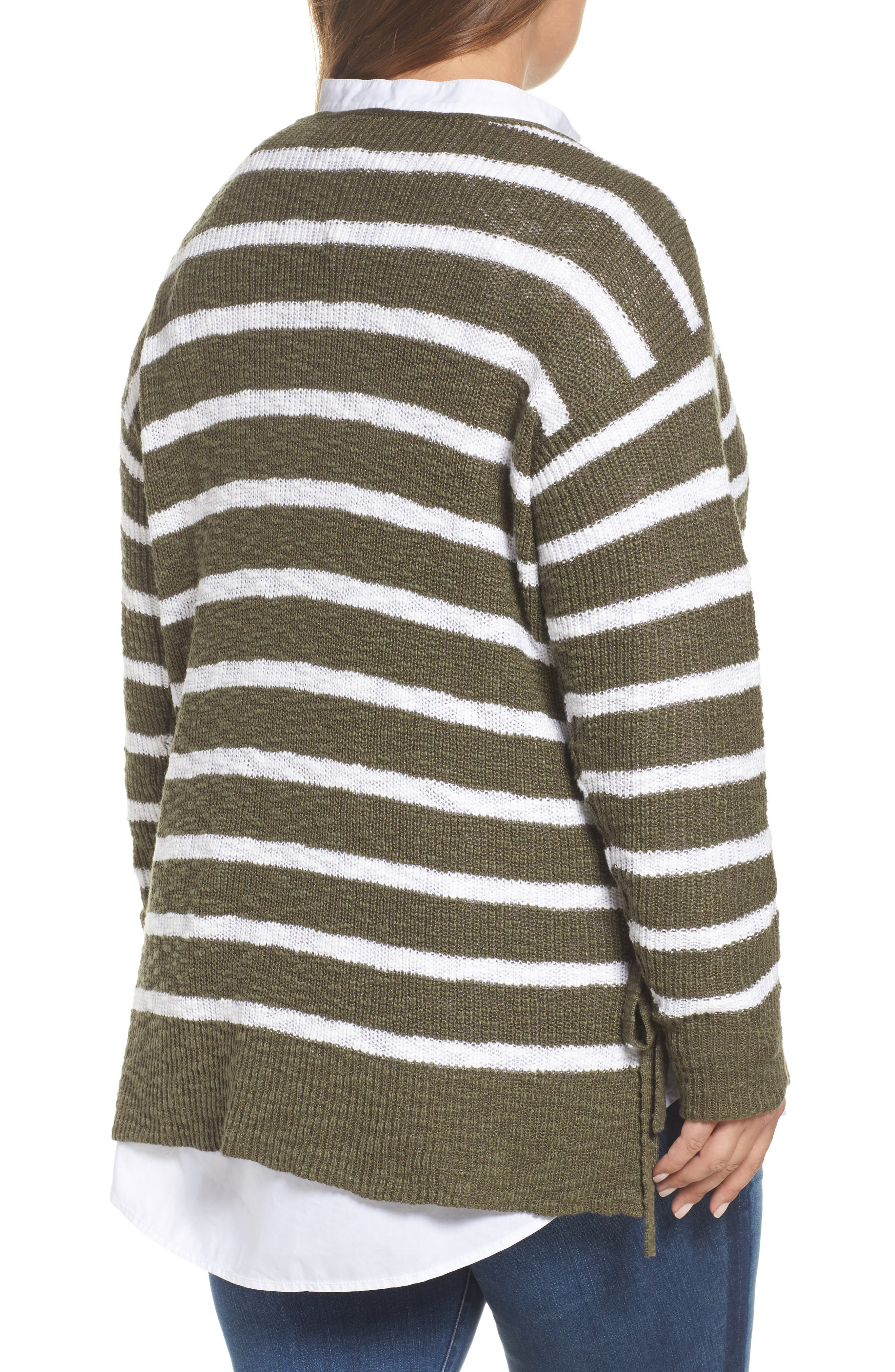 Tunic Sweater with Side Ties,                             Alternate thumbnail 2, color,                             Olive- White Stripe
