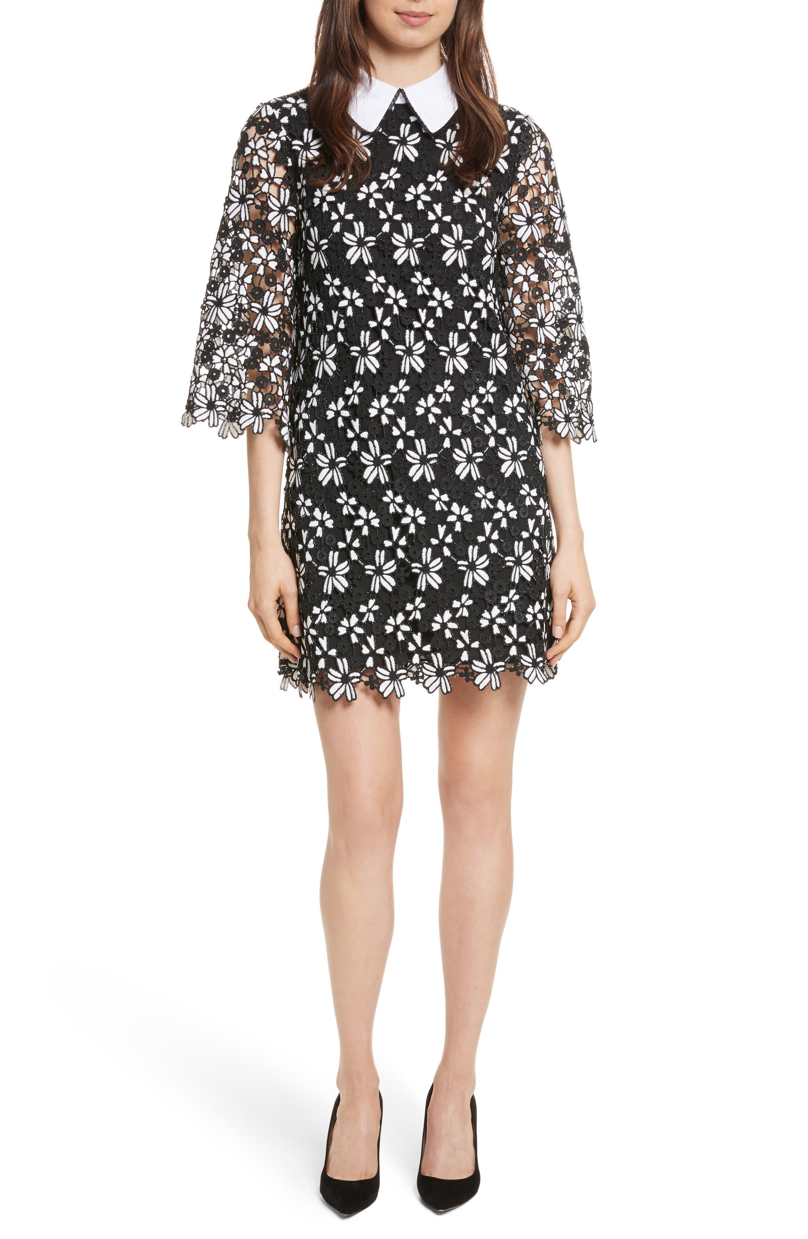Debra Collared Lace Tunic Dress,                         Main,                         color, Black/ White