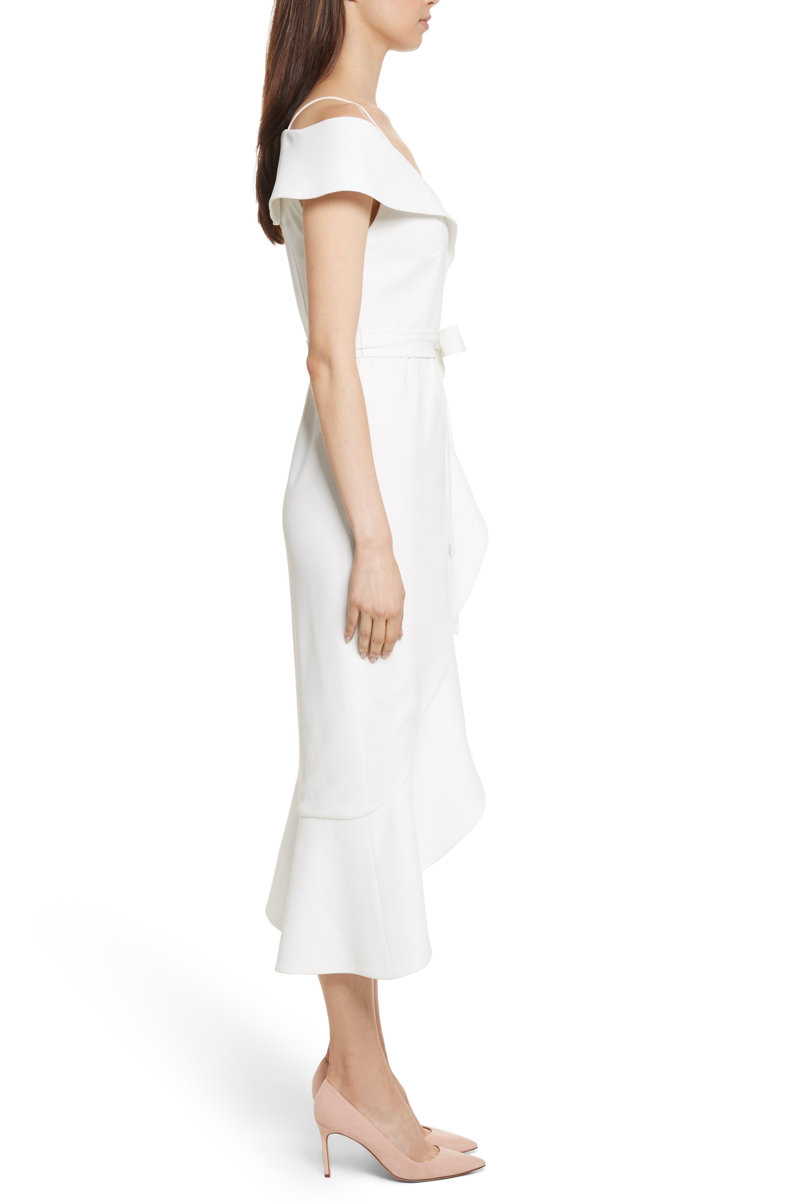 Josie Off the Shoulder Ruffle Wrap Dress,                             Alternate thumbnail 3, color,                             Off White