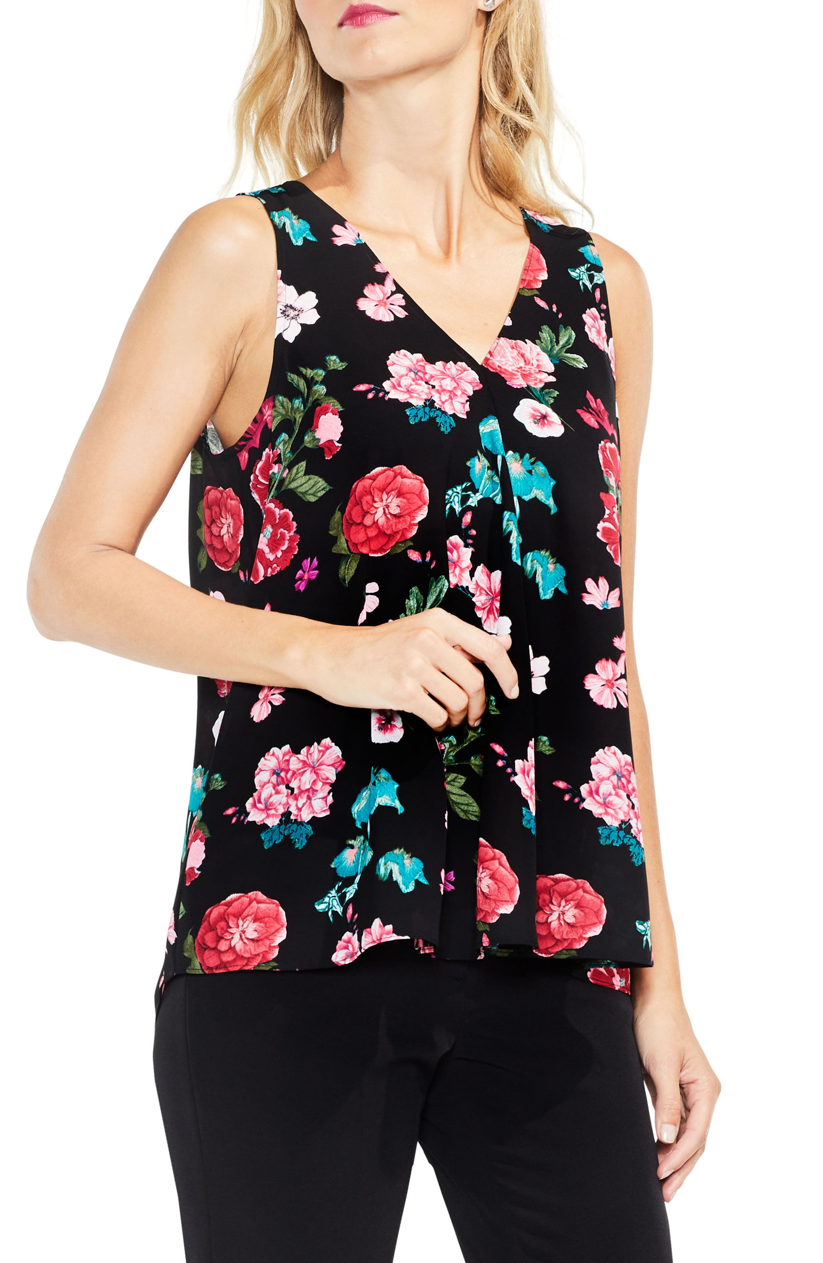 Sleeveless Floral Heirlooms Drape Front Top,                             Main thumbnail 1, color,                             Rich Black