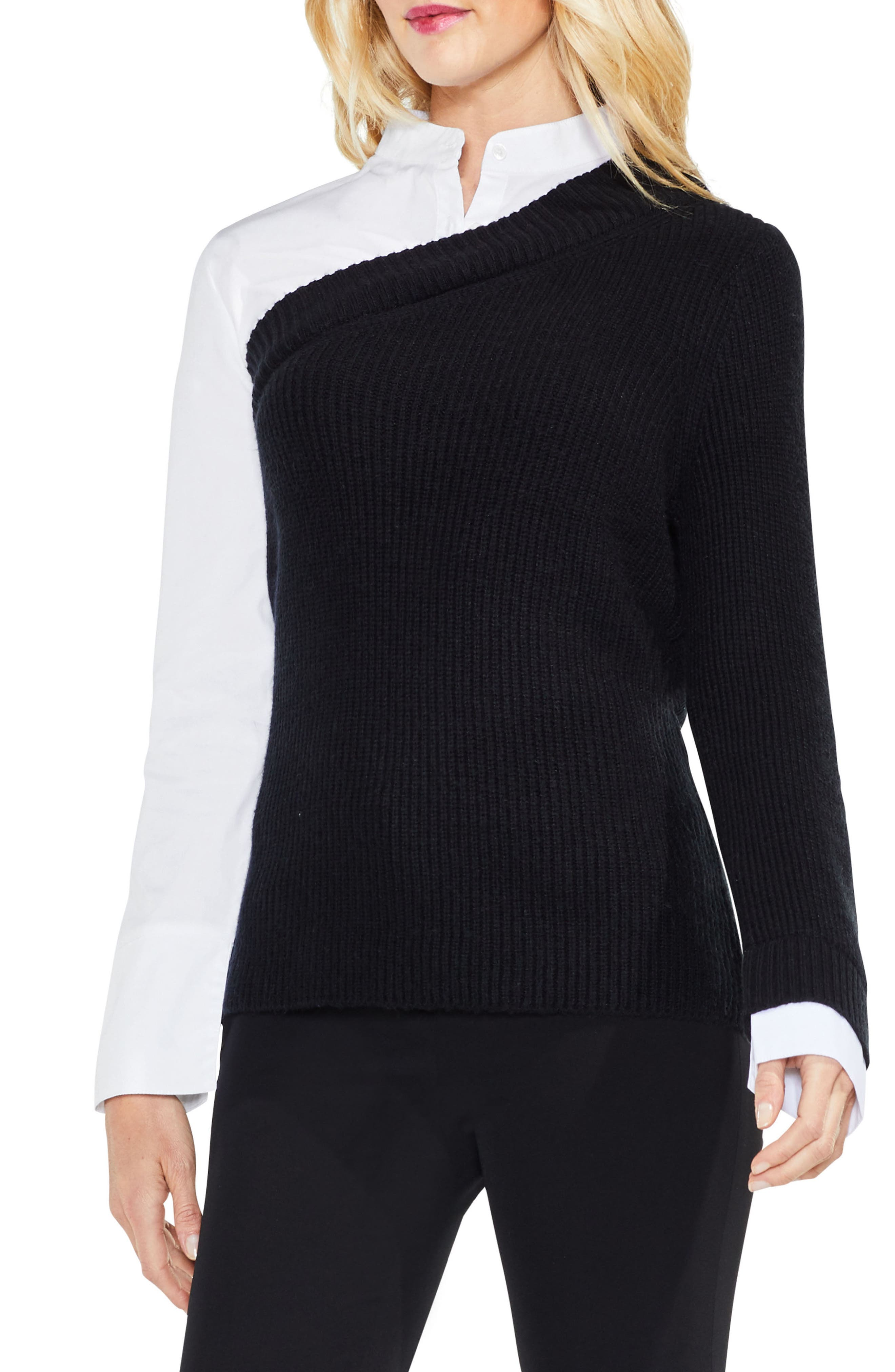 Mix Media Layered Sweater,                         Main,                         color, Rich Black