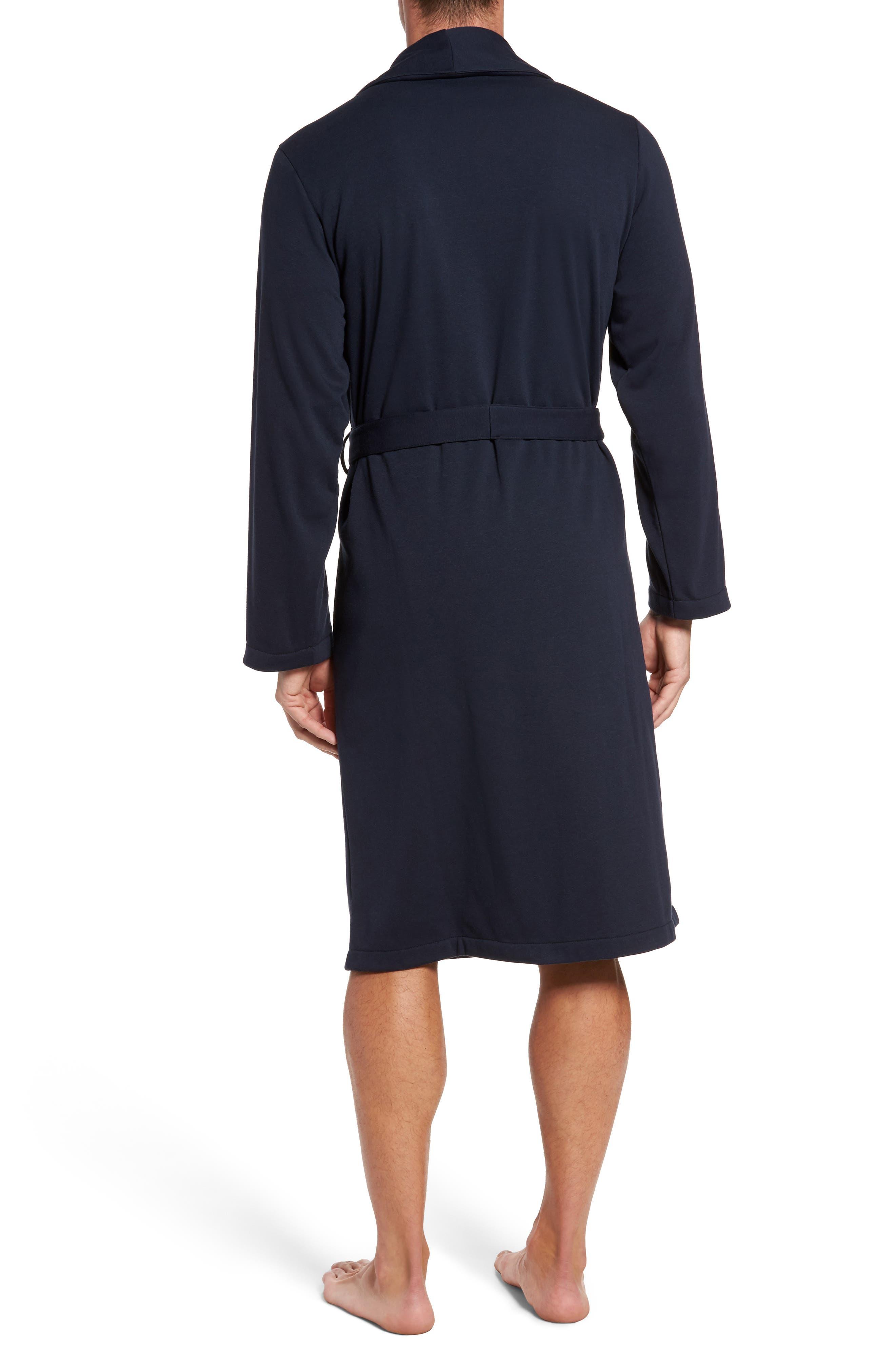 Jersey Fleece Robe,                             Alternate thumbnail 2, color,                             Navy