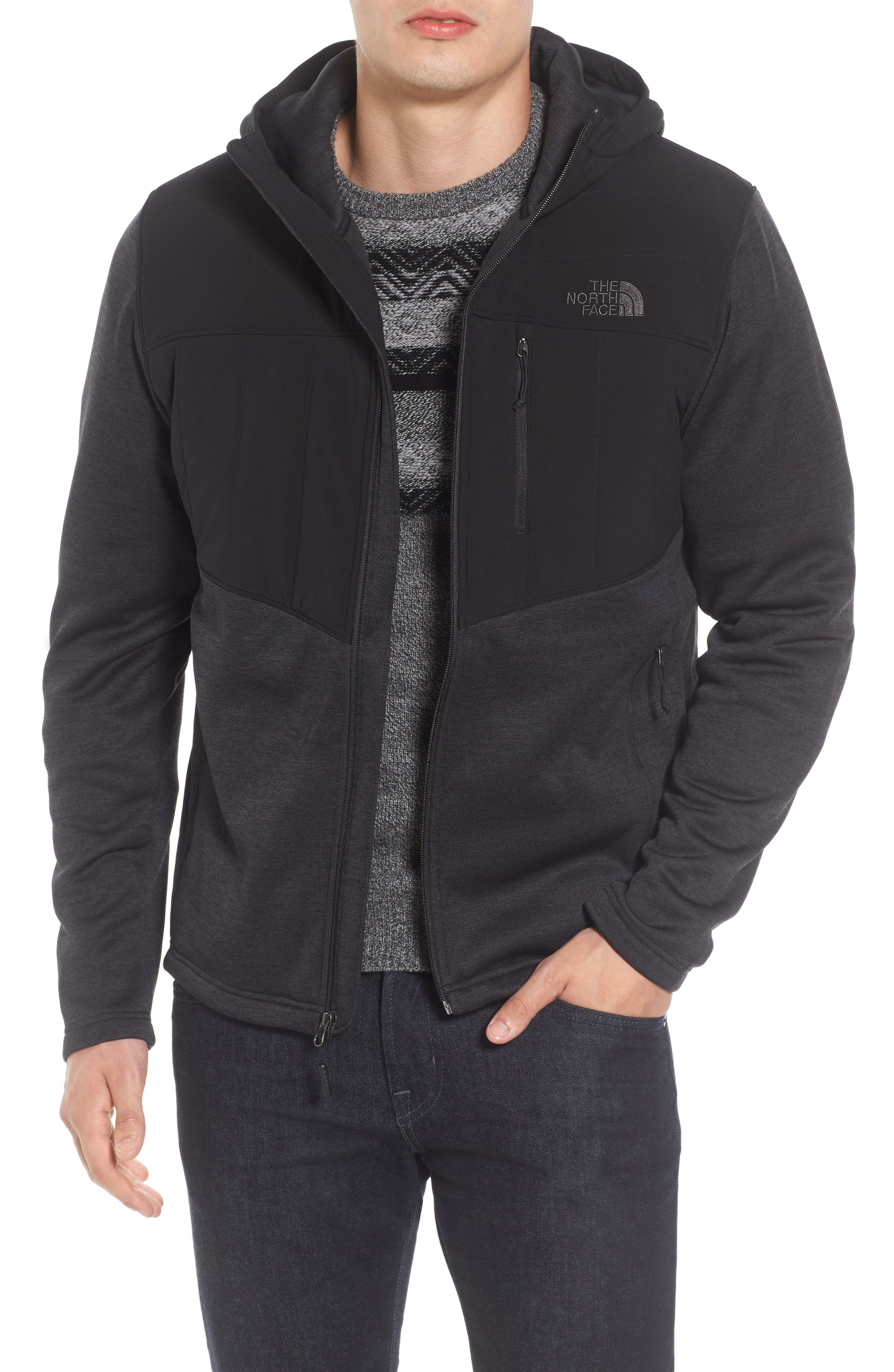 Norris Insulated Fleece Jacket,                             Main thumbnail 1, color,                             Tnf Black Heather/Tnf Black