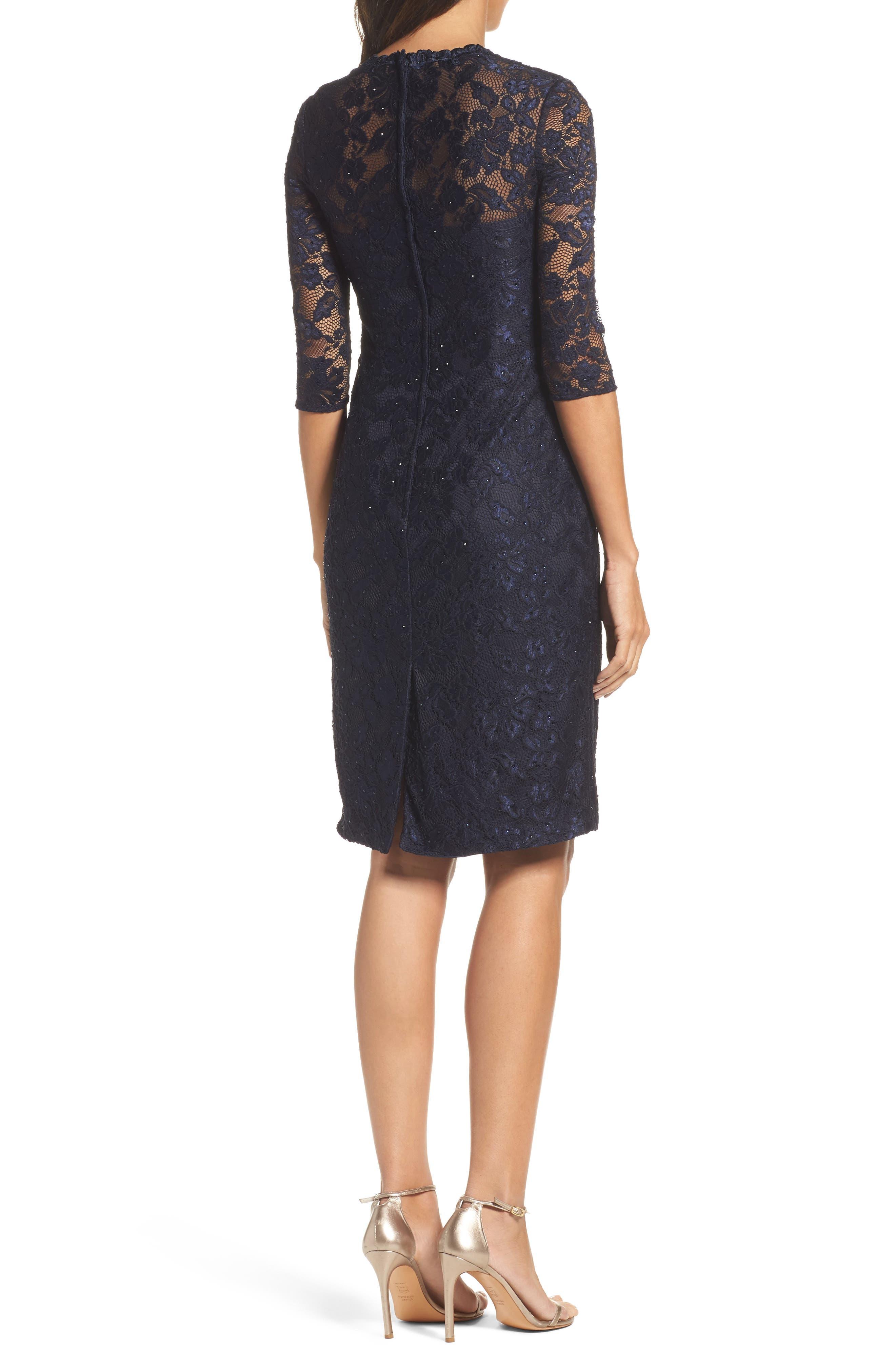 Alternate Image 2  - La Femme Sweetheart Lace Sheath Dress
