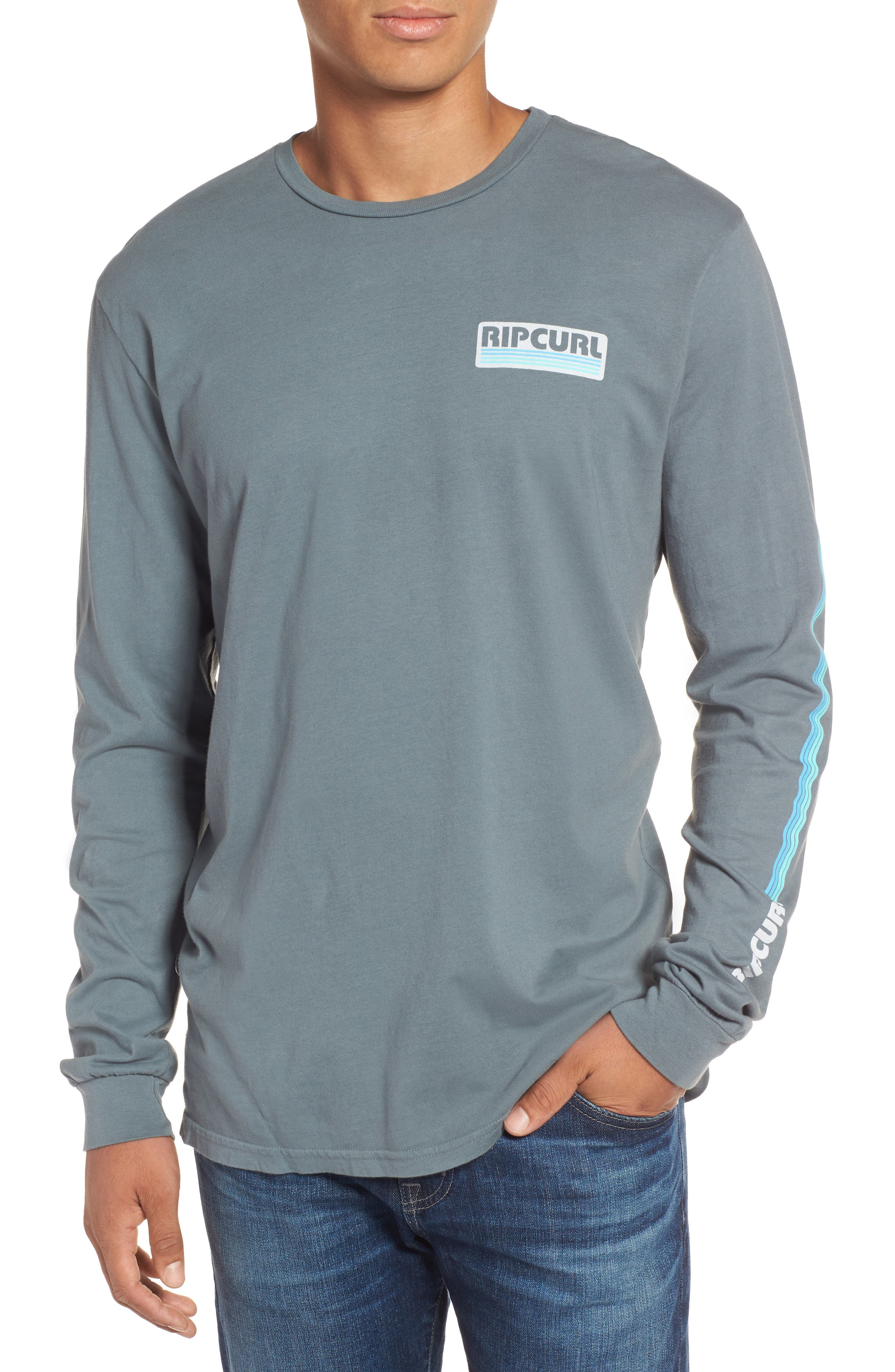 The Pump Long Sleeve Logo Graphic T-Shirt,                         Main,                         color, Teal