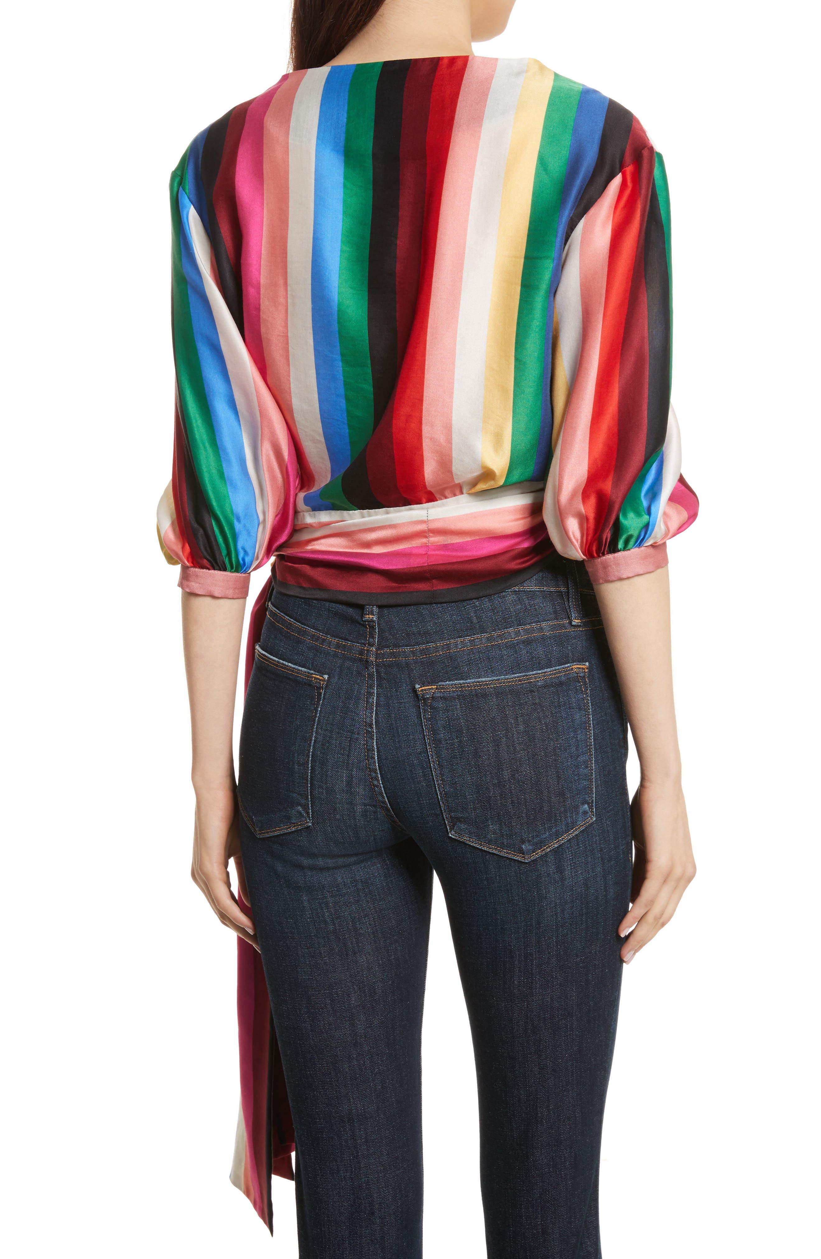 Dyanna Wrap Front Blouson Top,                             Alternate thumbnail 2, color,                             Rainbow Stripe
