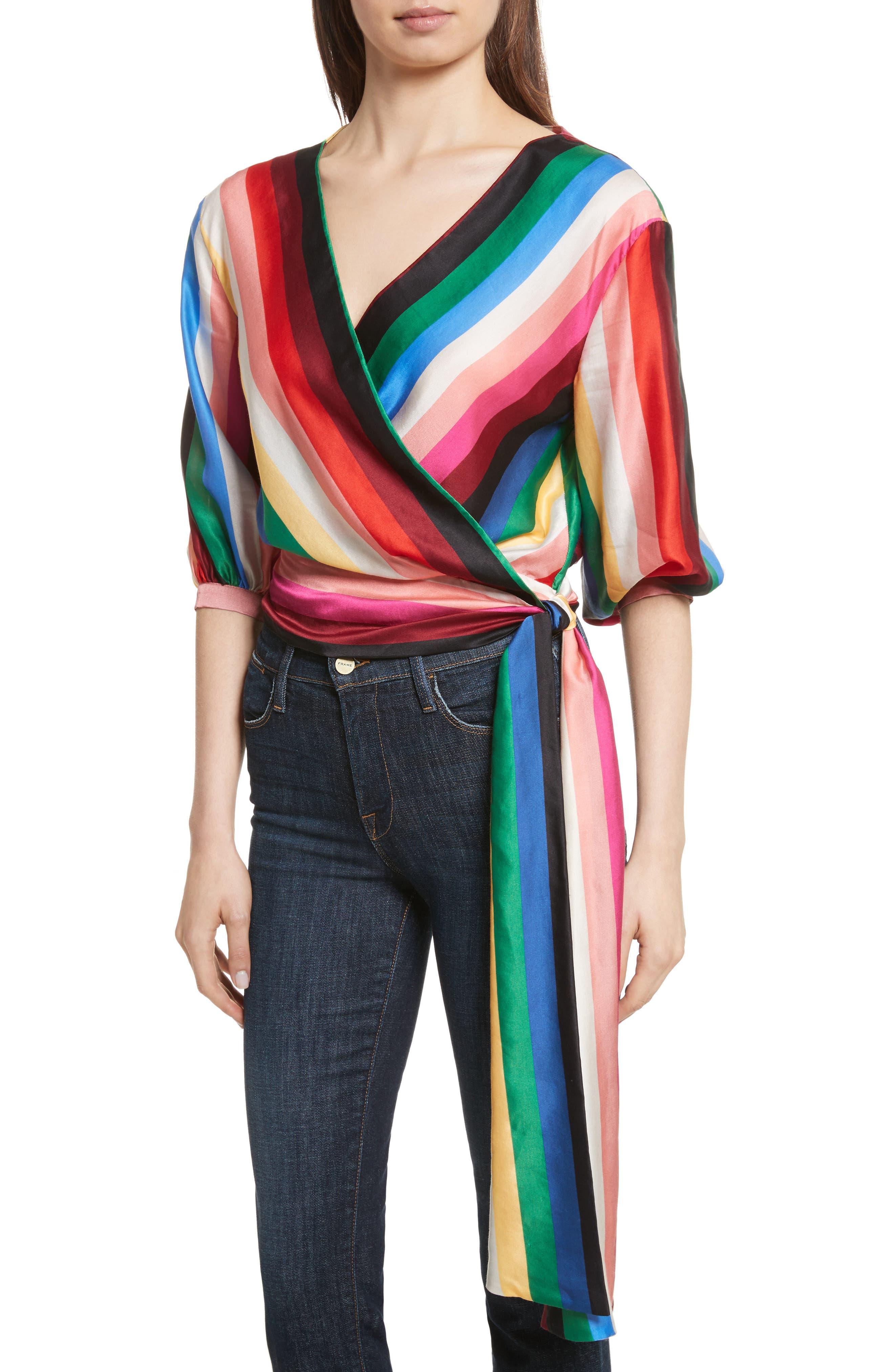 Dyanna Wrap Front Blouson Top,                             Alternate thumbnail 4, color,                             Rainbow Stripe