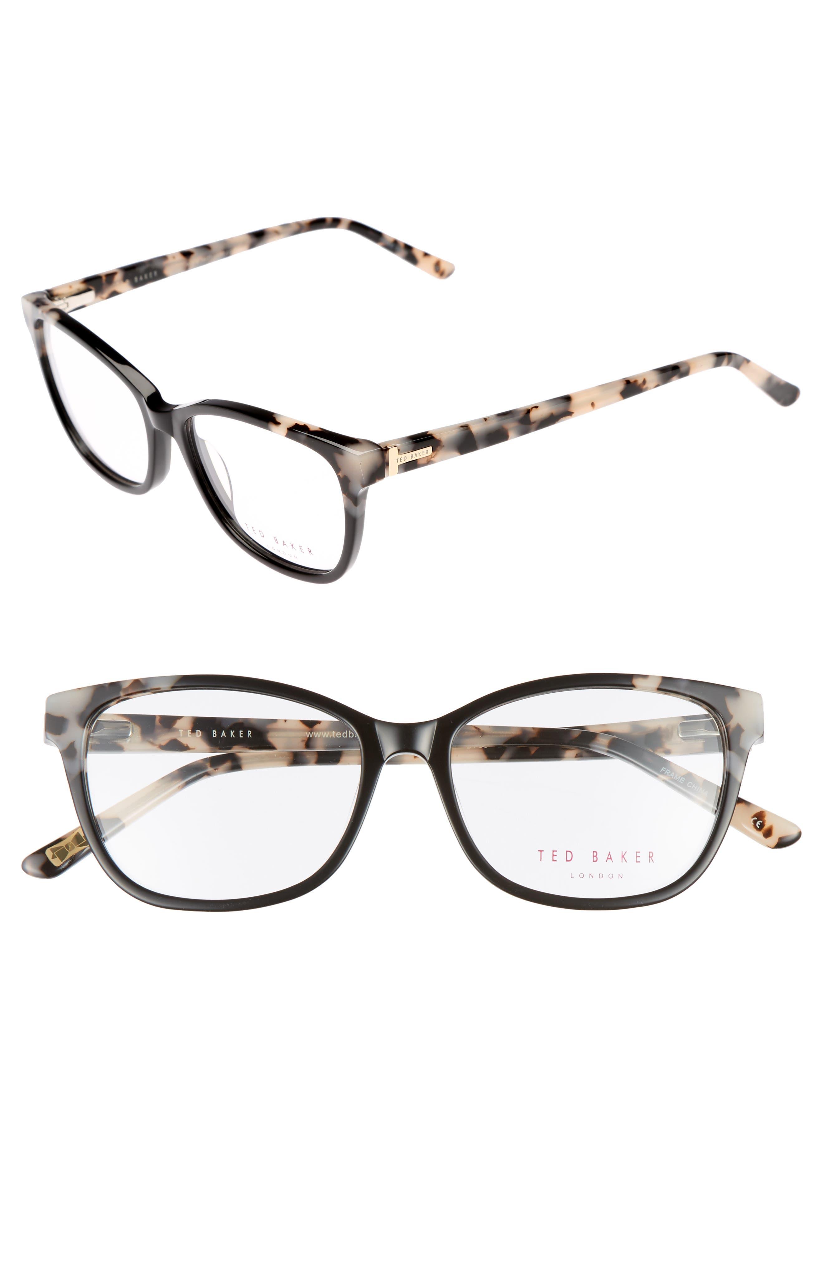 52mm Square Optical Glasses,                             Main thumbnail 1, color,                             Black