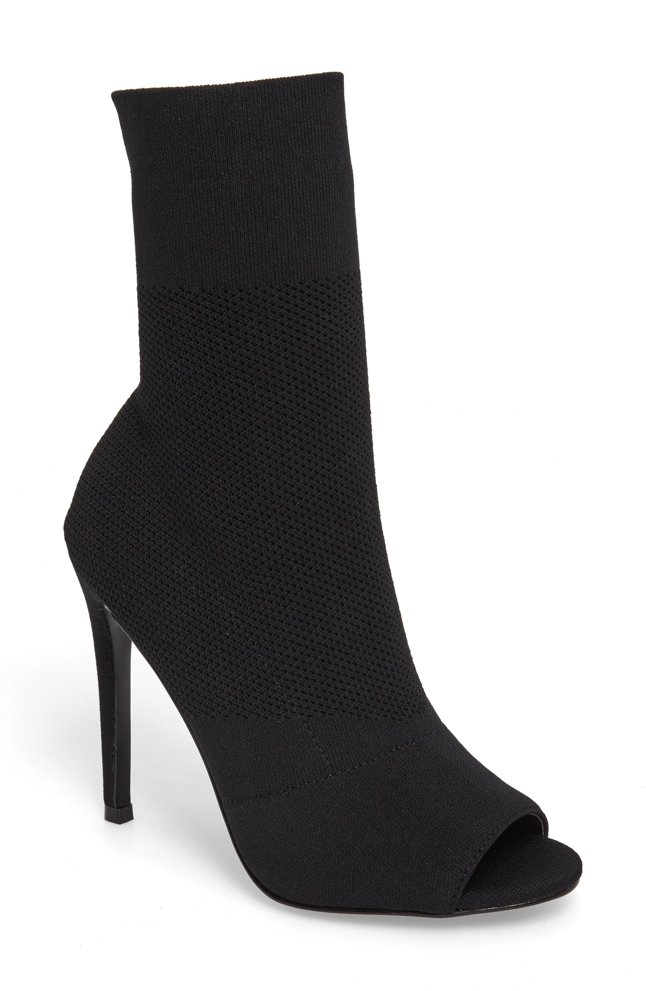 Kristi Peep Toe Bootie,                         Main,                         color, Black Fabric