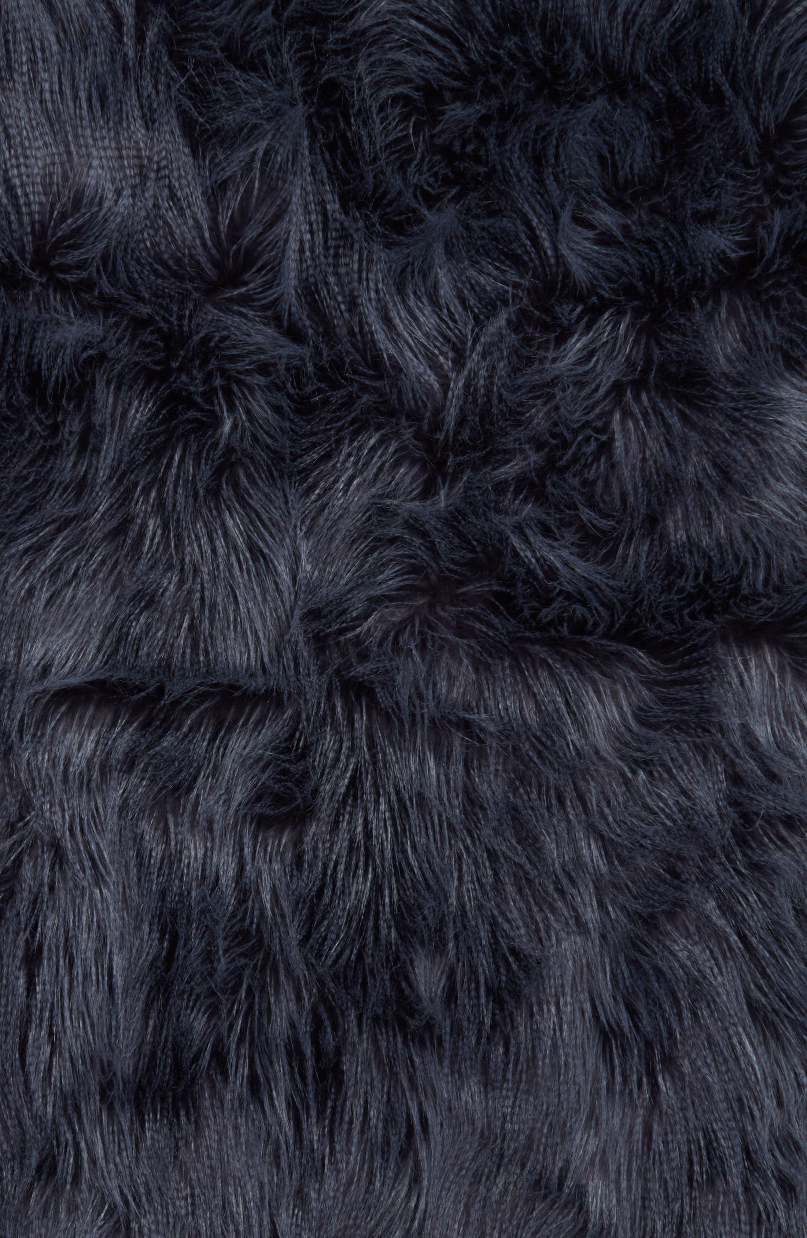 Fauna Faux Fur Throw Blanket,                             Alternate thumbnail 2, color,                             Navy Armada