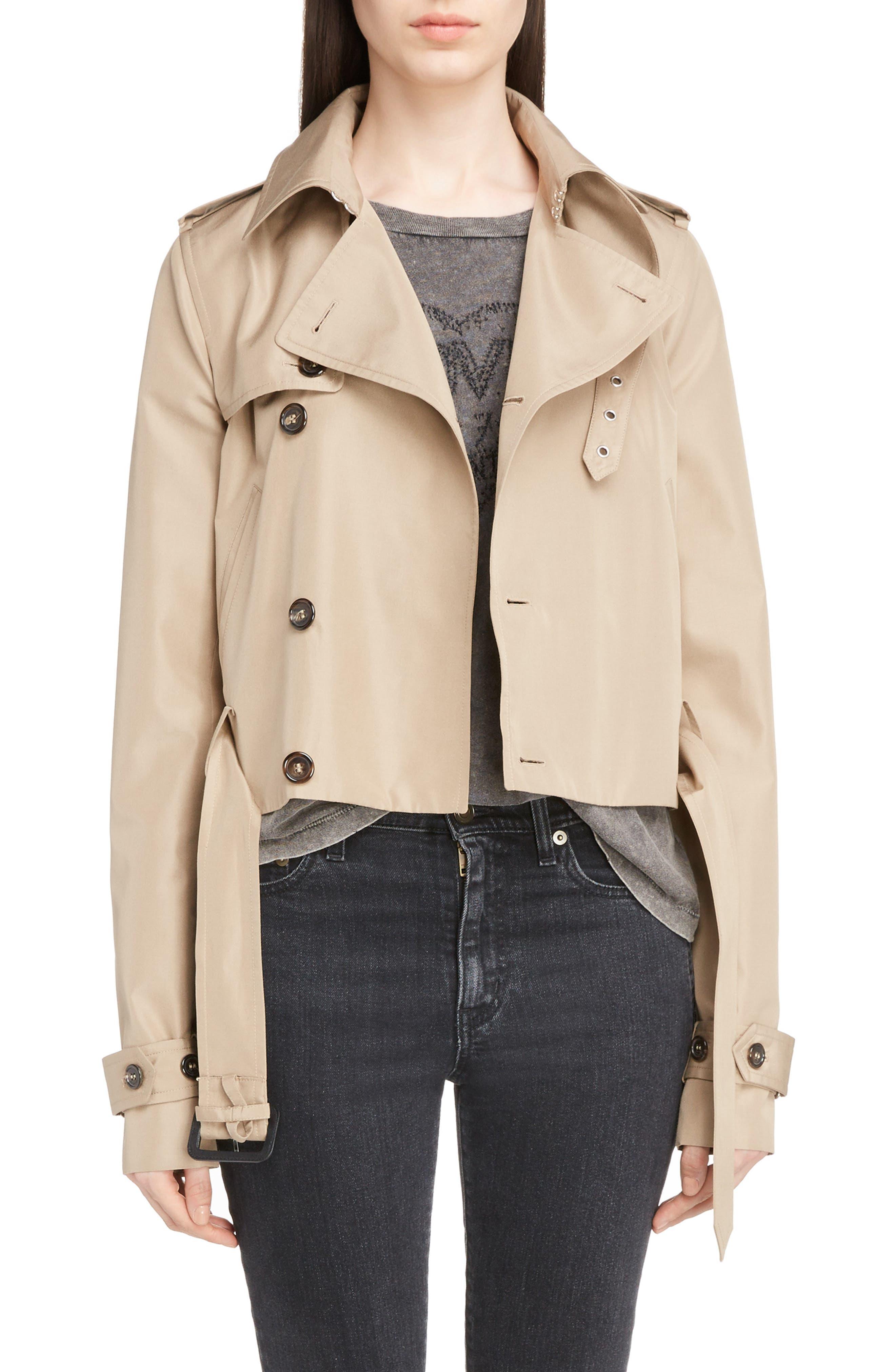 Cotton Gabardine Crop Trench Jacket,                         Main,                         color, Sable
