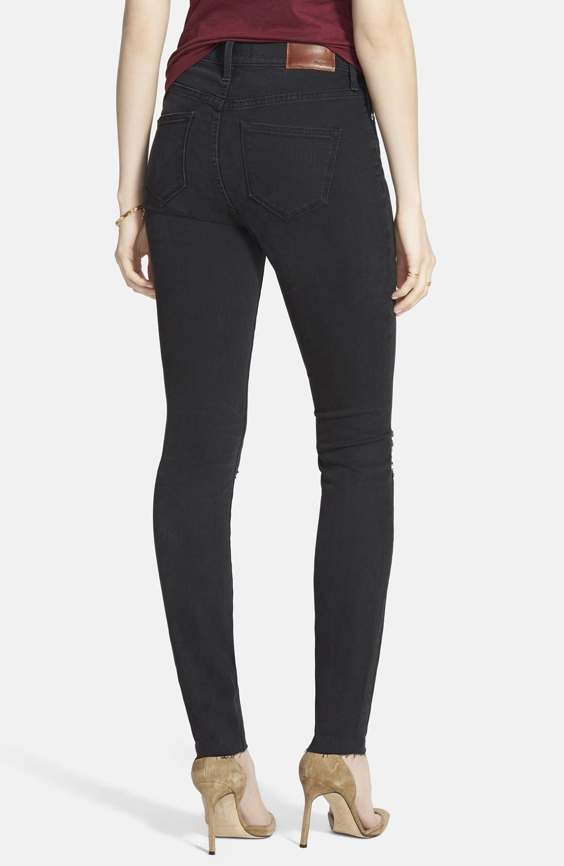 9-Inch High-Rise Skinny Jeans,                             Alternate thumbnail 2, color,                             Black Sea