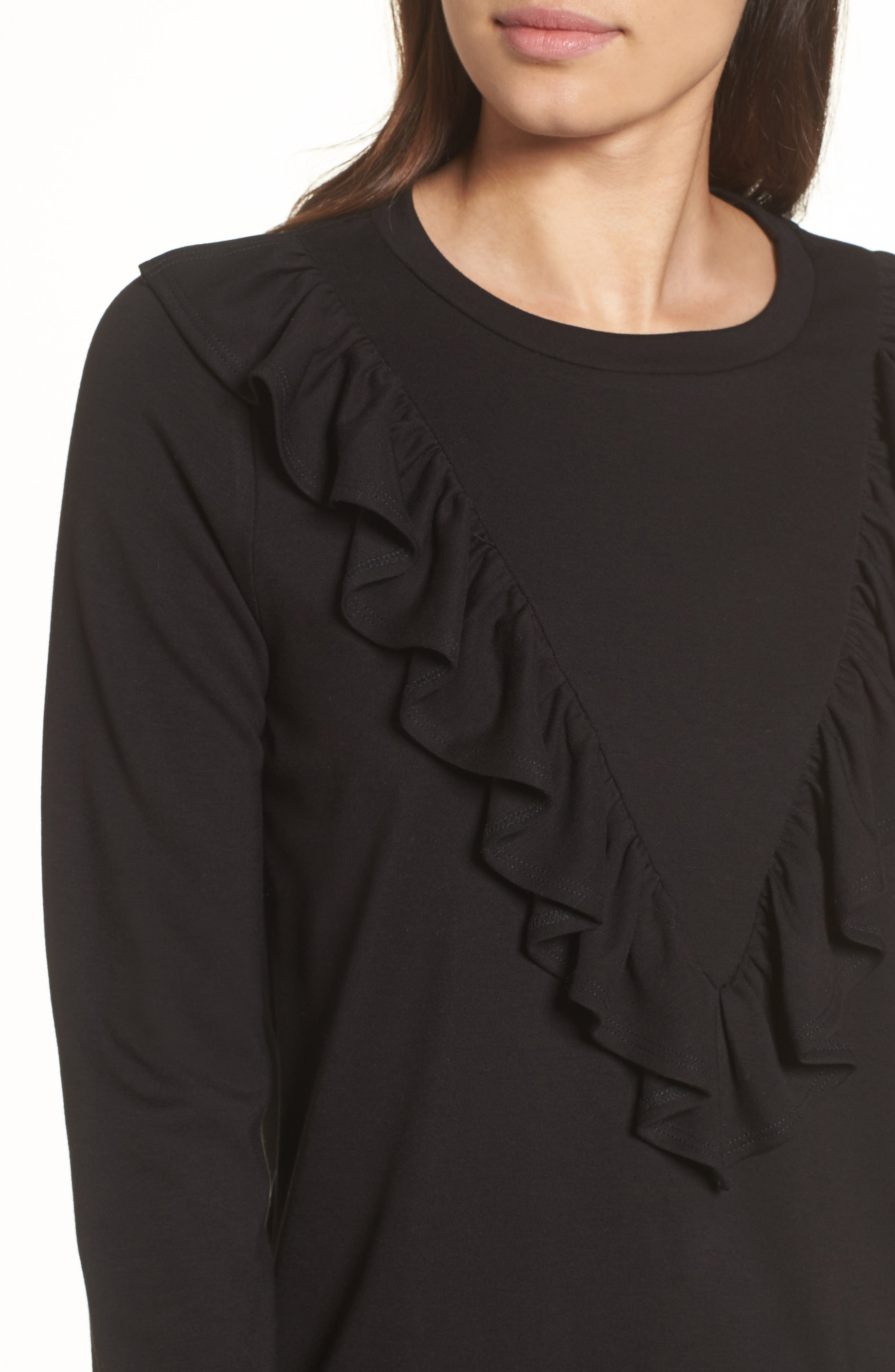 Ruffle Ponte Sweater,                             Alternate thumbnail 4, color,                             Black