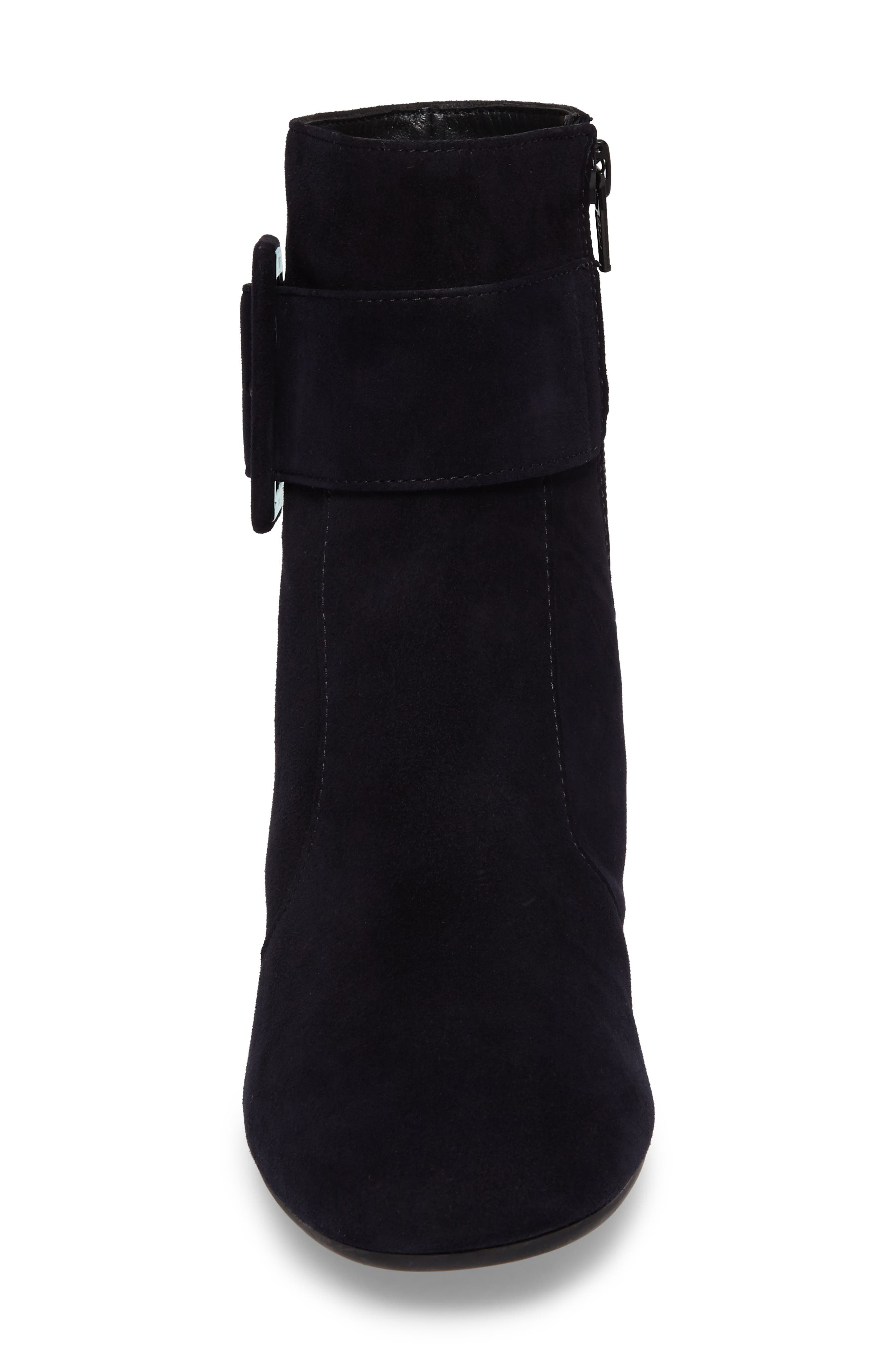 Natalia Buckle Boot,                             Alternate thumbnail 4, color,                             Navy Suede