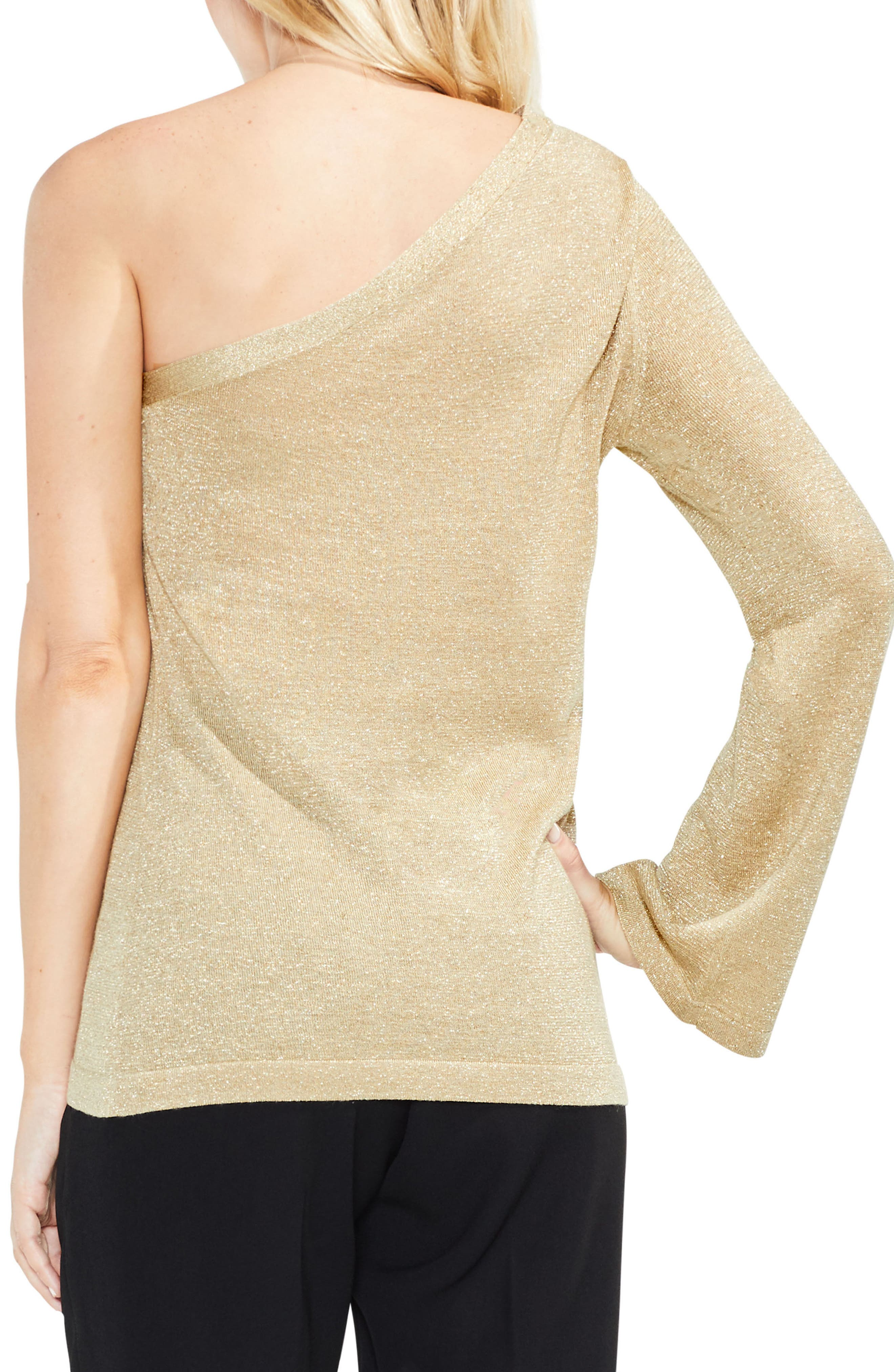 One-Shoulder Bell Sleeve Sweater,                             Alternate thumbnail 2, color,                             Bisque