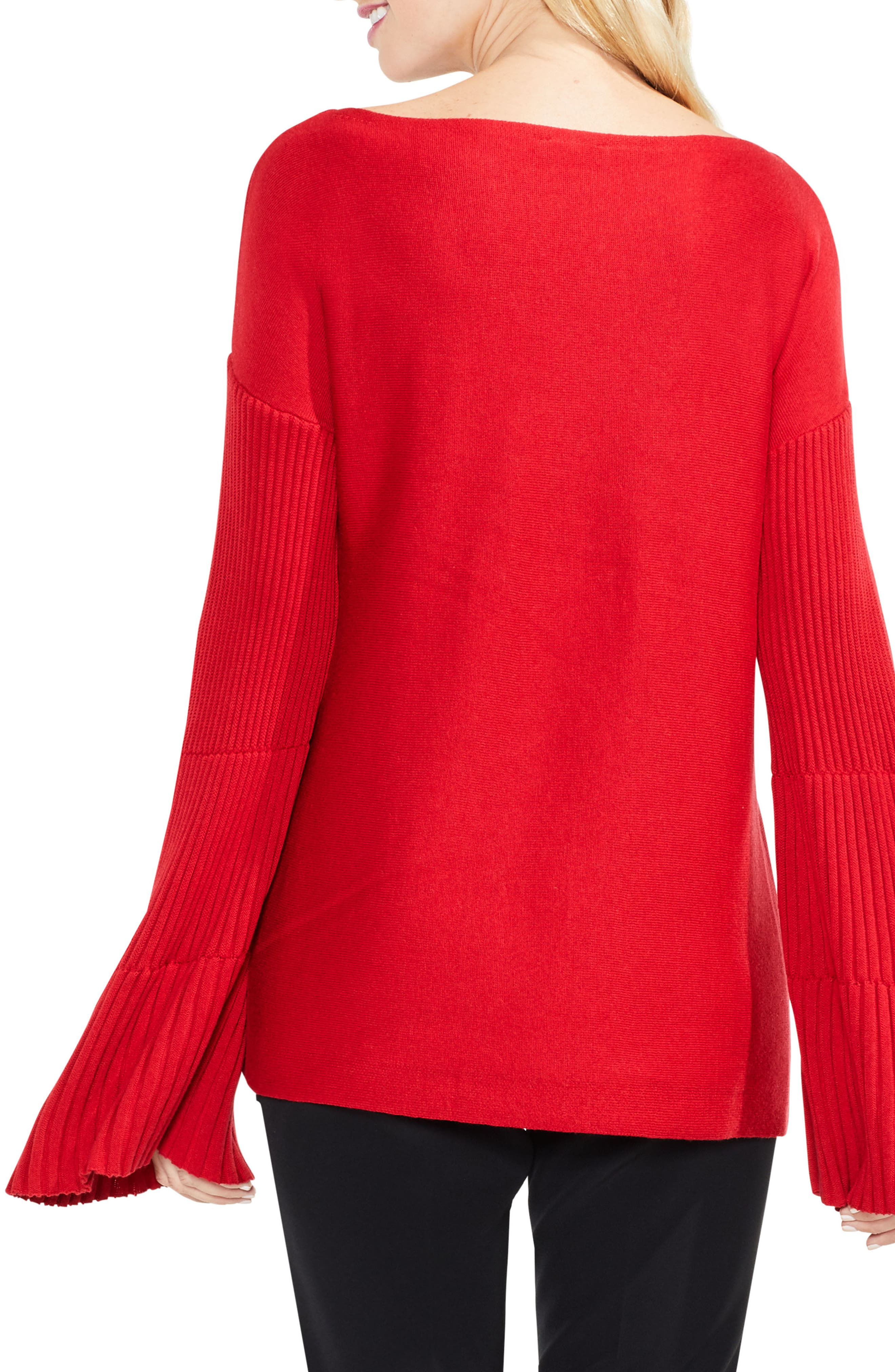 Bell Sleeve Ribbed Sweater,                             Alternate thumbnail 2, color,                             True Crimson