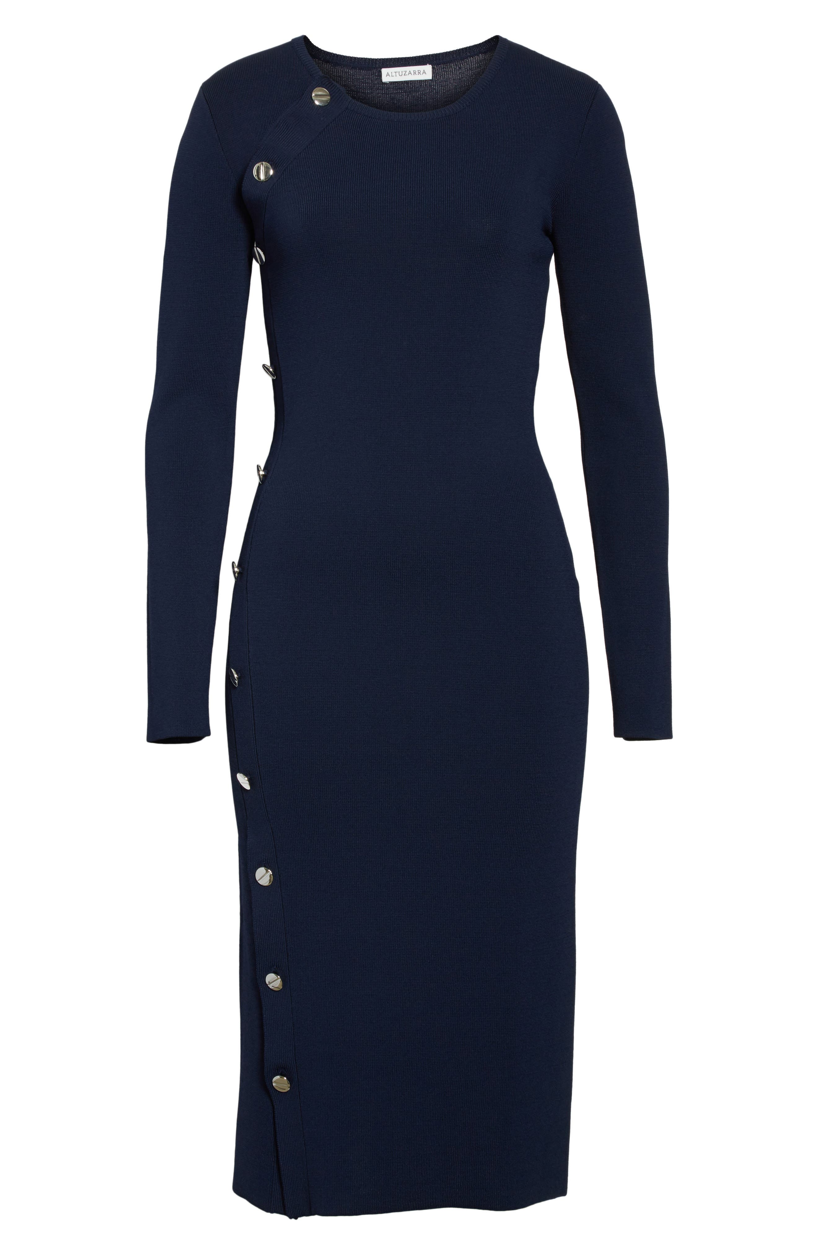 Button Detail Knit Dress,                             Alternate thumbnail 7, color,                             Navy