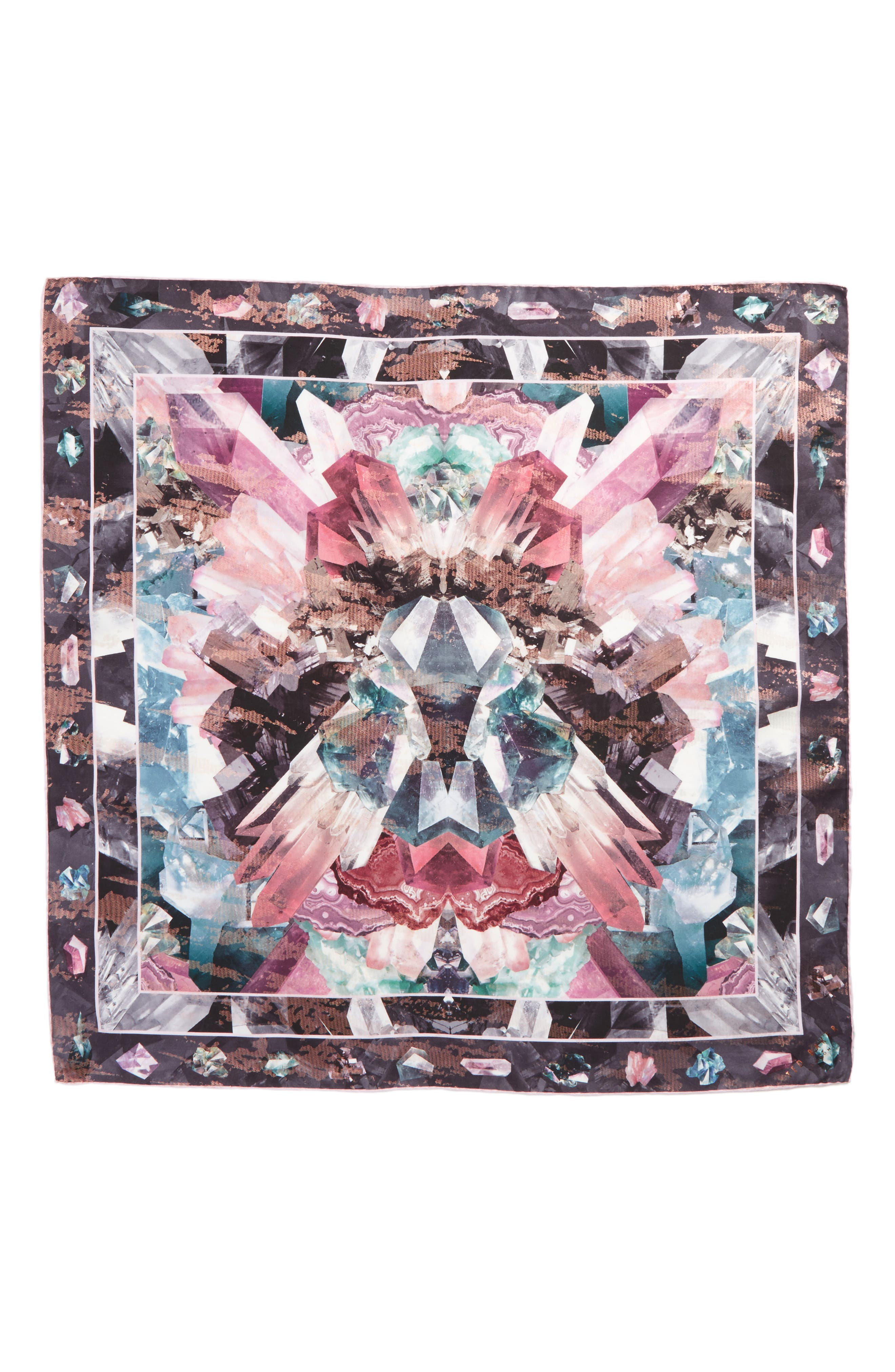 Mirrored Minerals Silk Scarf,                             Alternate thumbnail 2, color,                             Grey