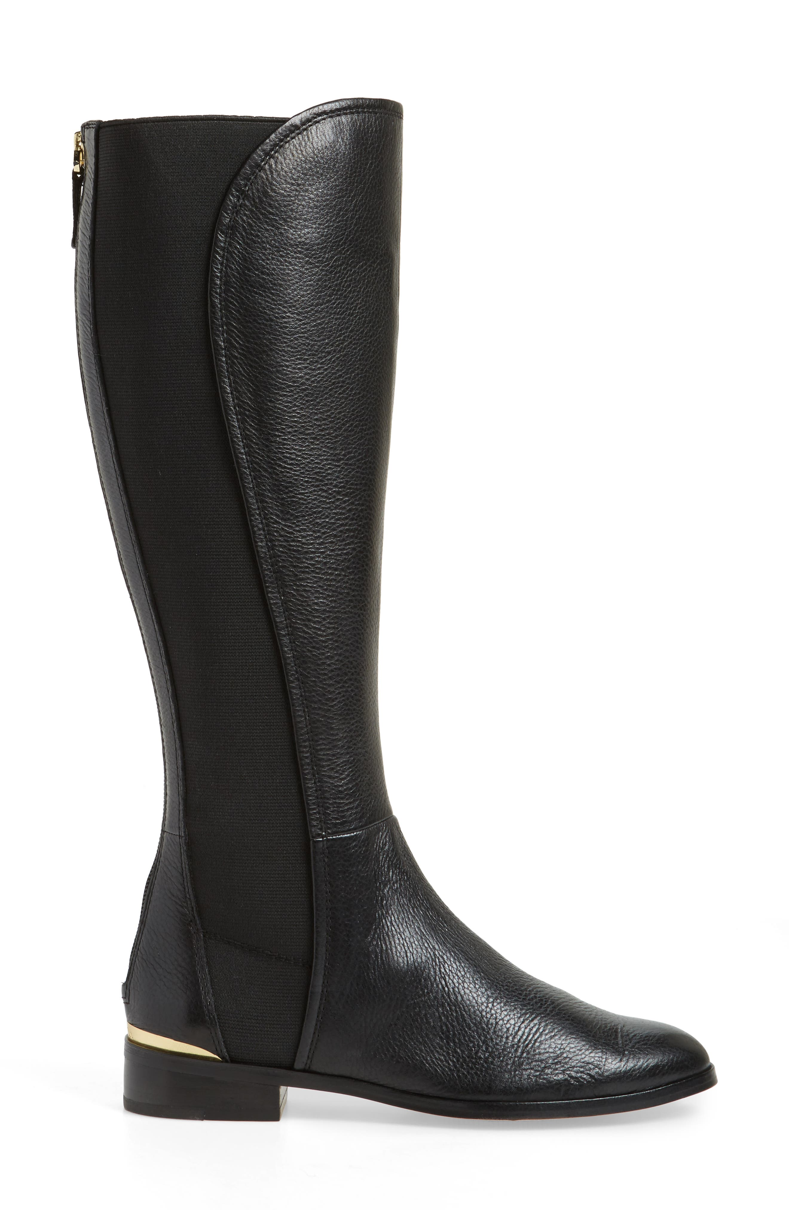 Vallery Elastic Back Knee High Boot,                             Alternate thumbnail 3, color,                             Black Nappa Leather
