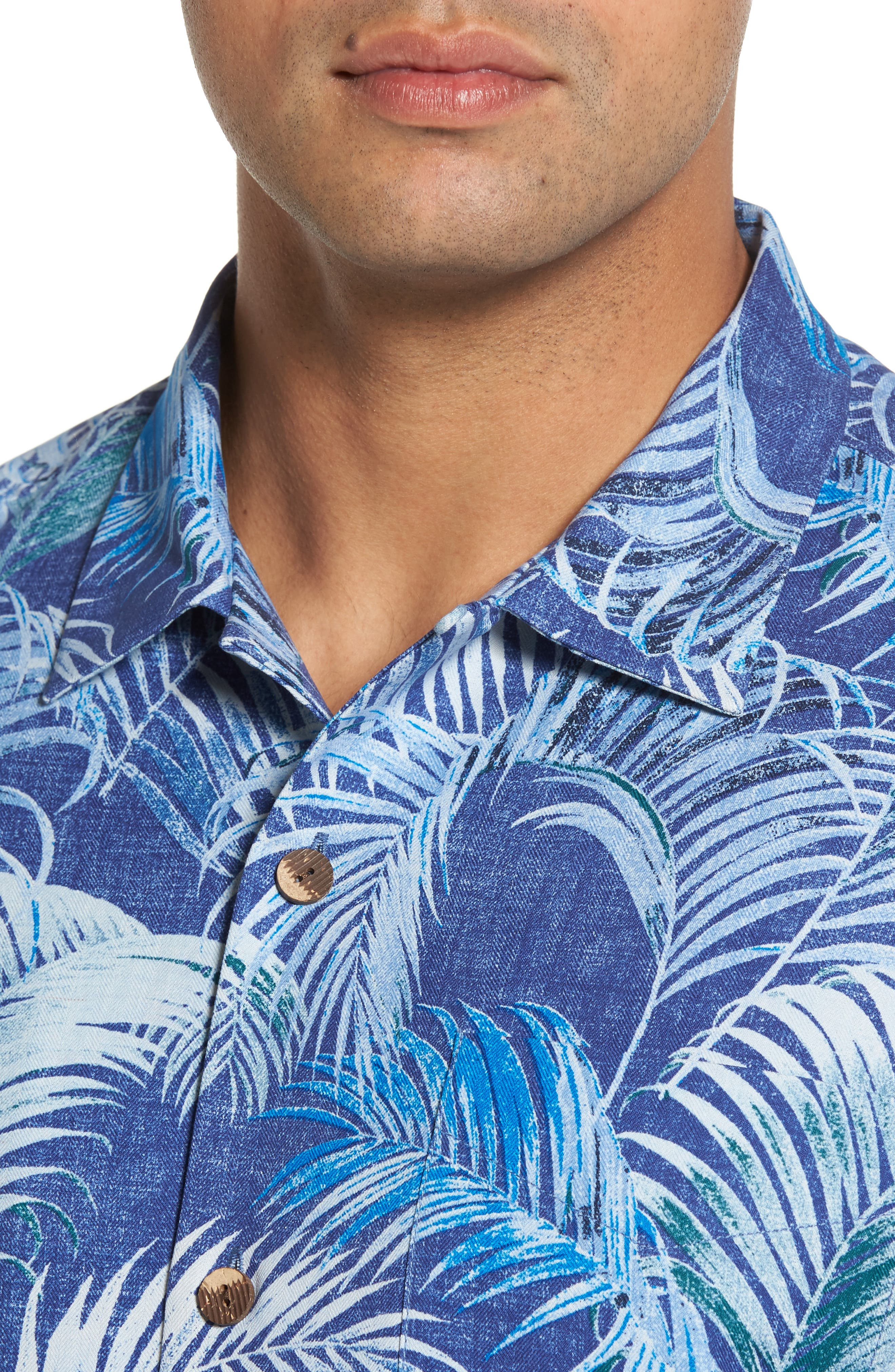 Garden of Hope and Courage Silk Camp Shirt,                             Alternate thumbnail 4, color,                             Eclipse