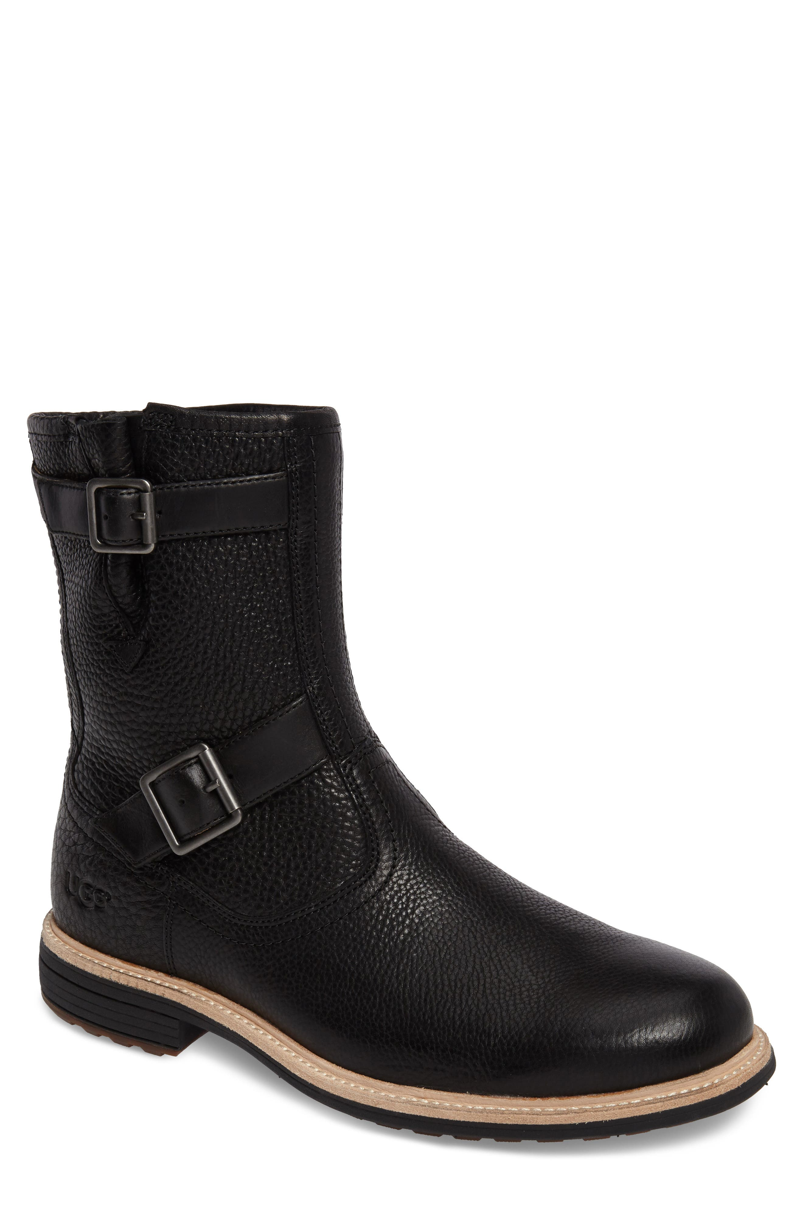 Jaren Zip Boot with Genuine Shearling,                             Main thumbnail 1, color,                             Black
