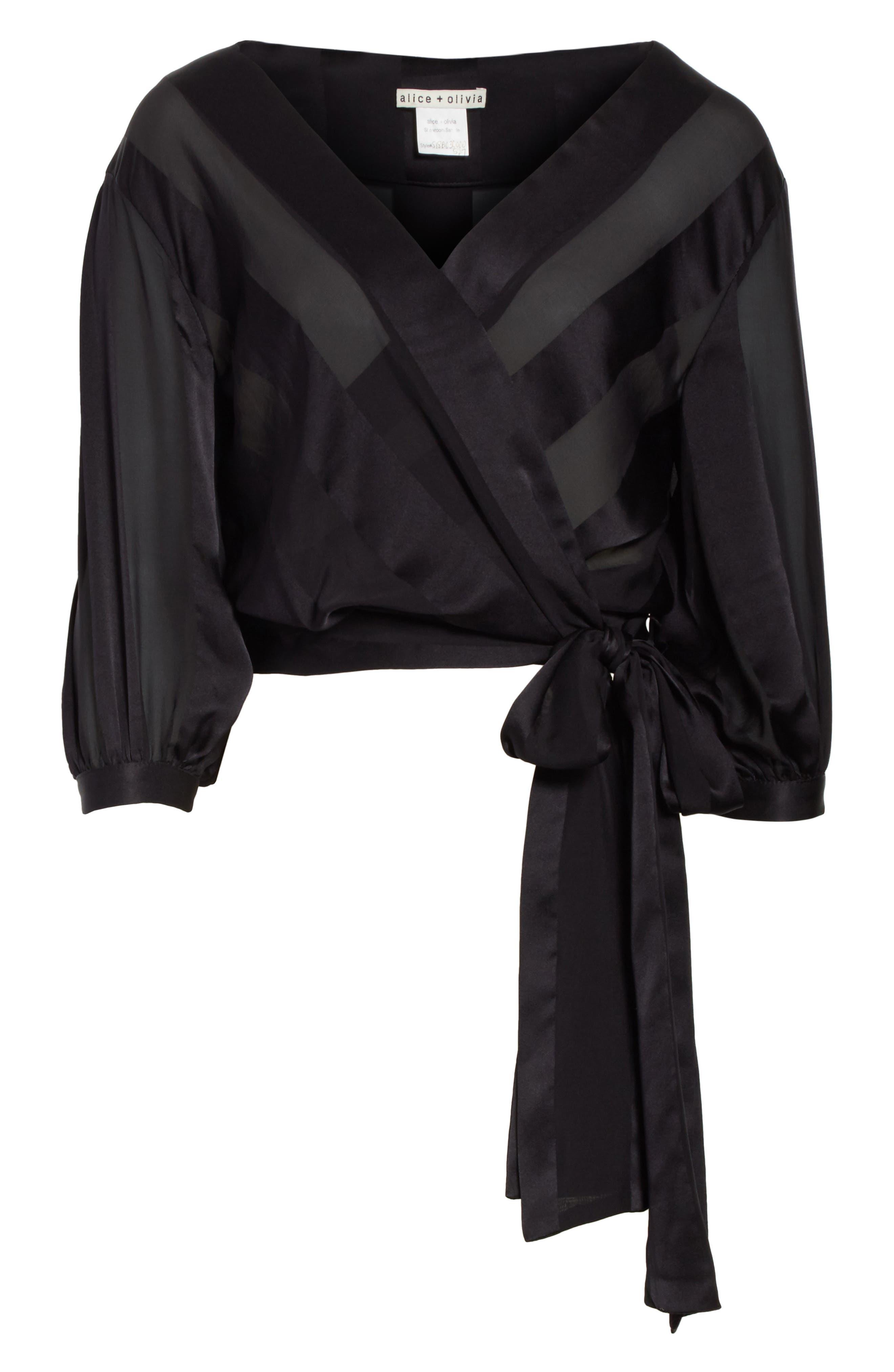 Dyanna Wrap Front Blouson Silk Top,                             Alternate thumbnail 6, color,                             Black