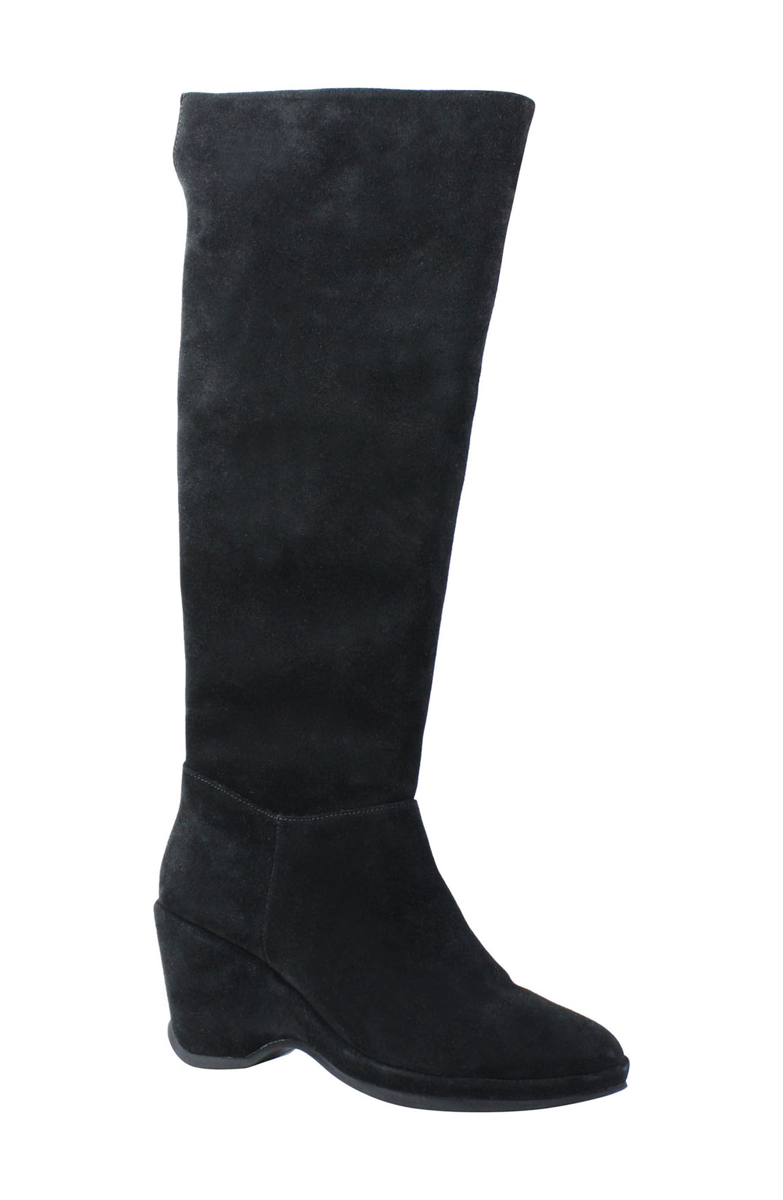 Odalys Tall Boot,                         Main,                         color, Black Suede