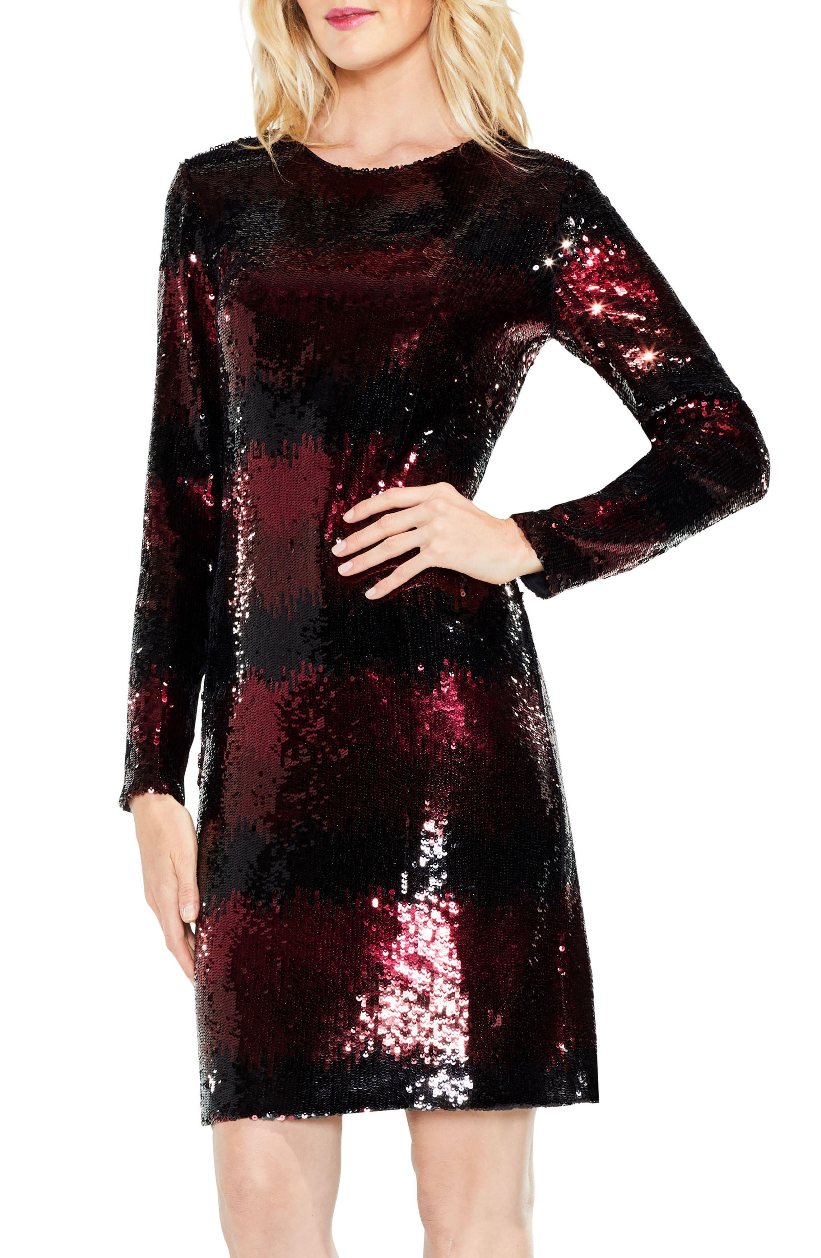 Ombré Sequin Dress,                         Main,                         color, Cherry Noir