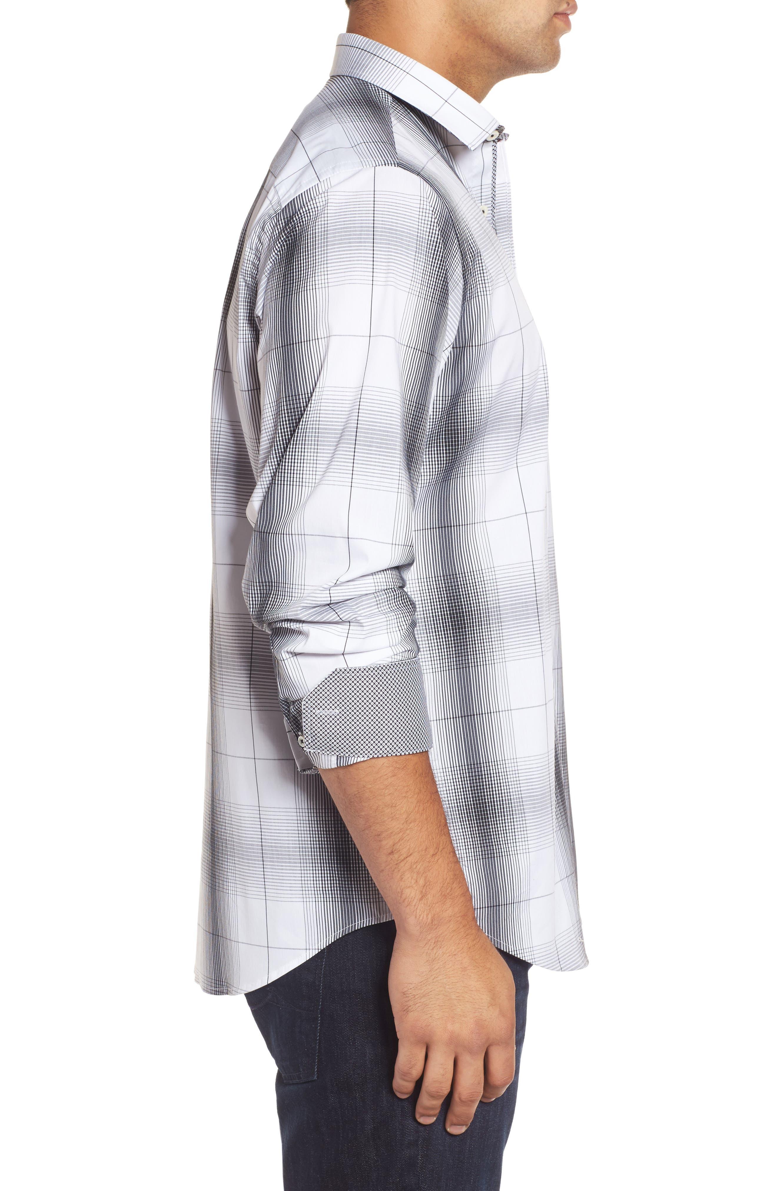 Alternate Image 3  - Bugatchi Classic Fit Ombré Plaid Sport Shirt