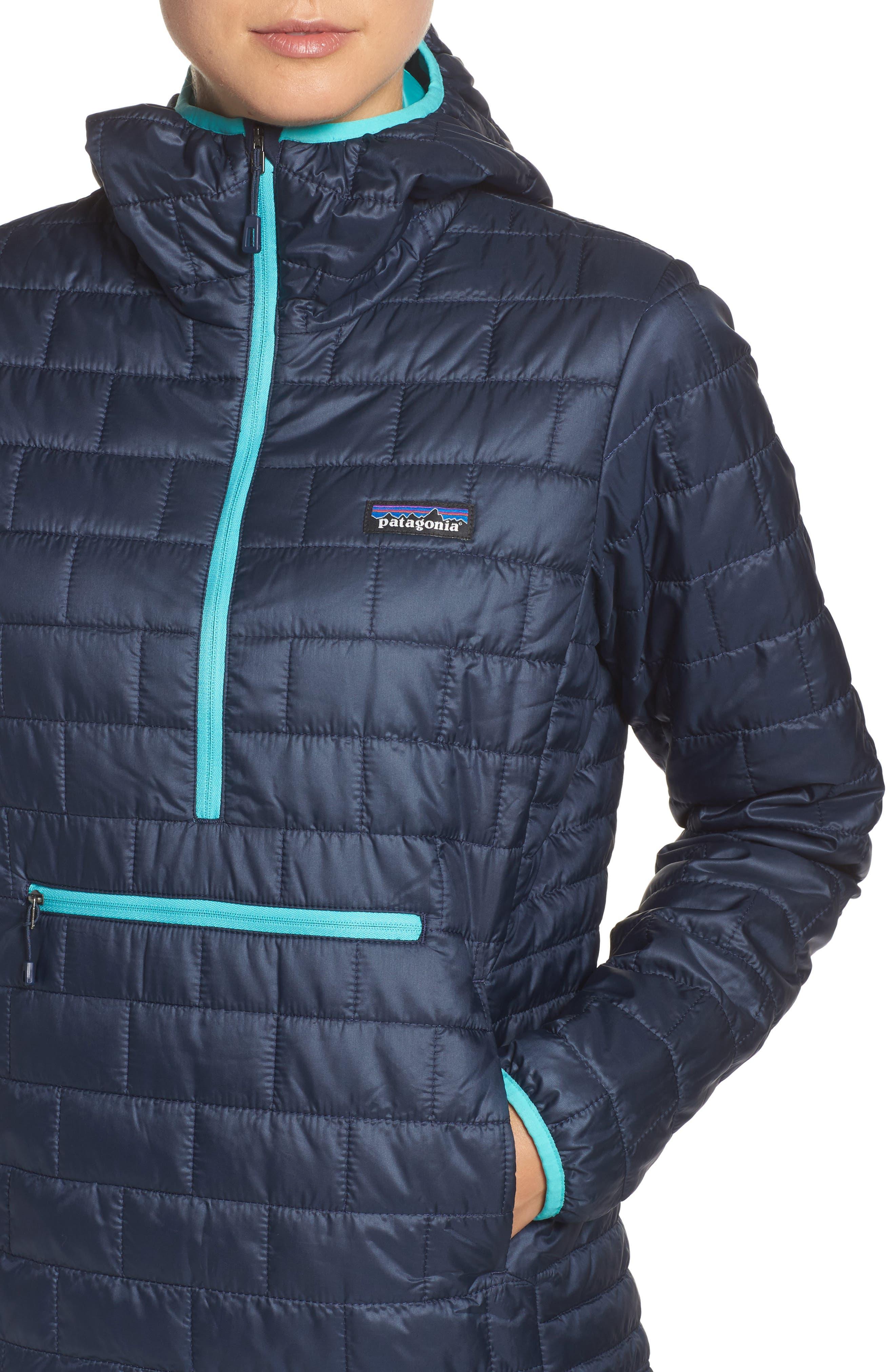 Nano Puff<sup>®</sup> Bivy Water Resistant Jacket,                             Alternate thumbnail 4, color,                             Navy Blue W/ Strait Blue