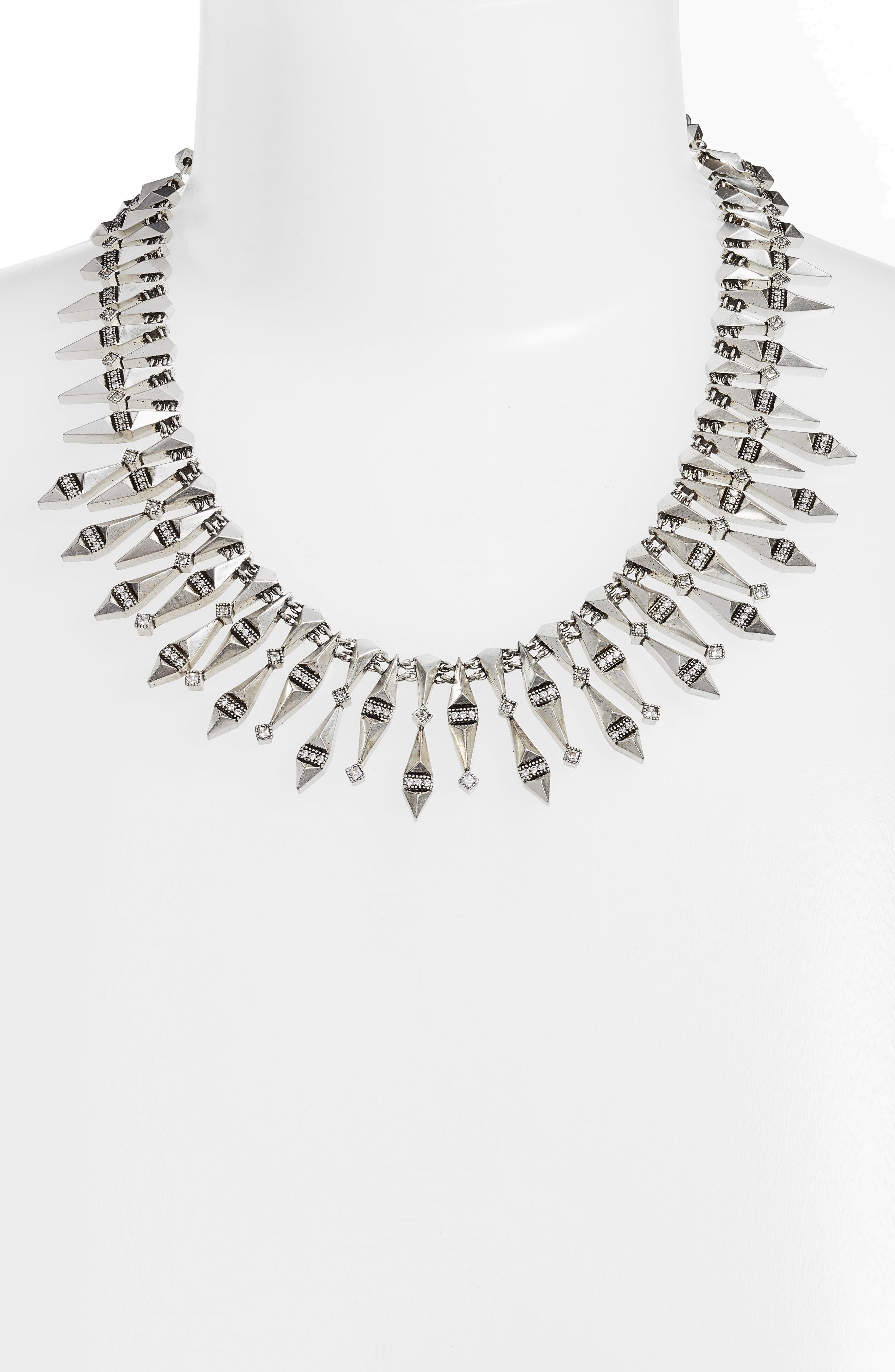 Cici Collar Necklace,                             Alternate thumbnail 2, color,                             Antique Silver