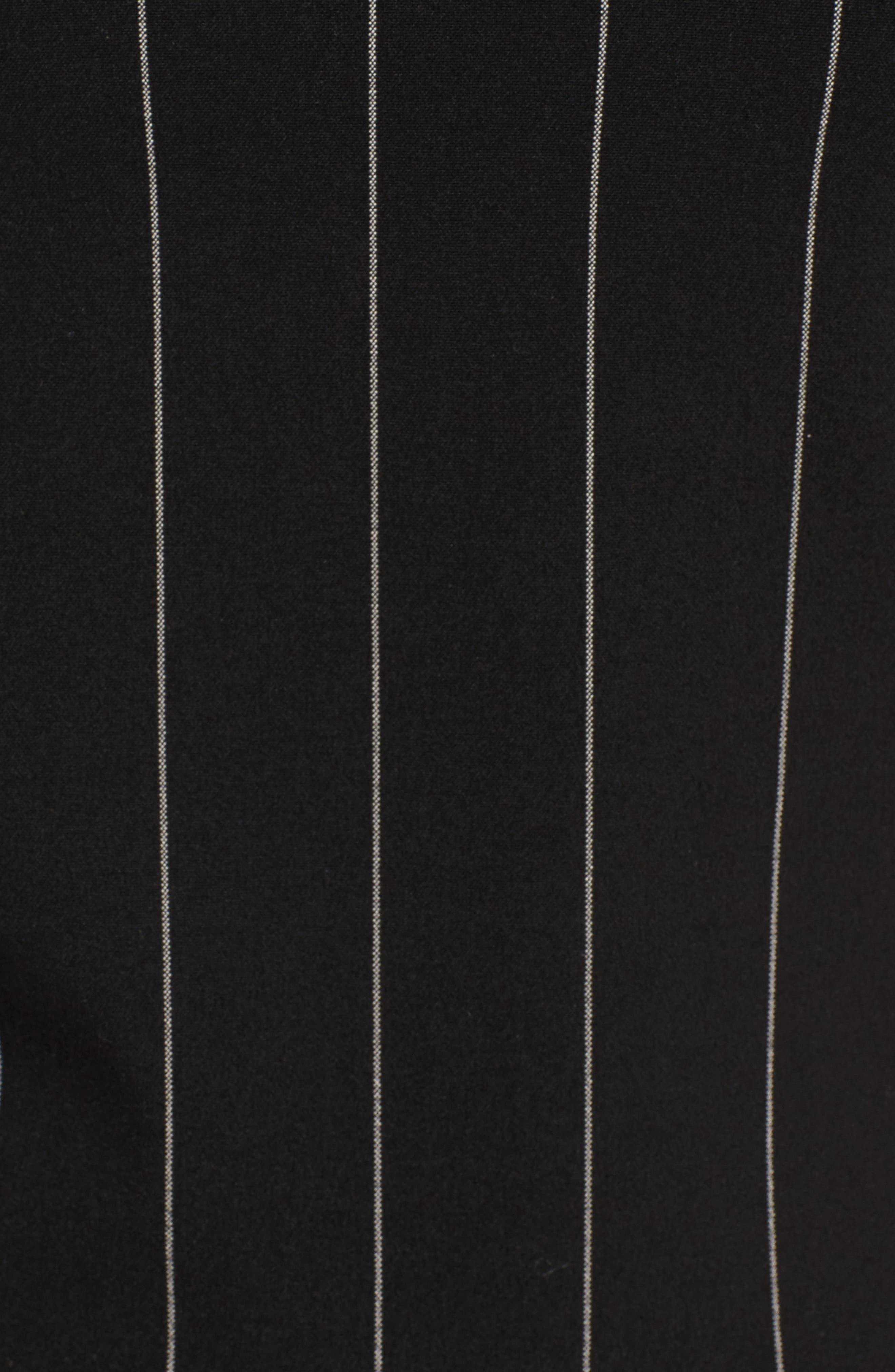 Pinstripe Blouse,                             Alternate thumbnail 5, color,                             Black/ White