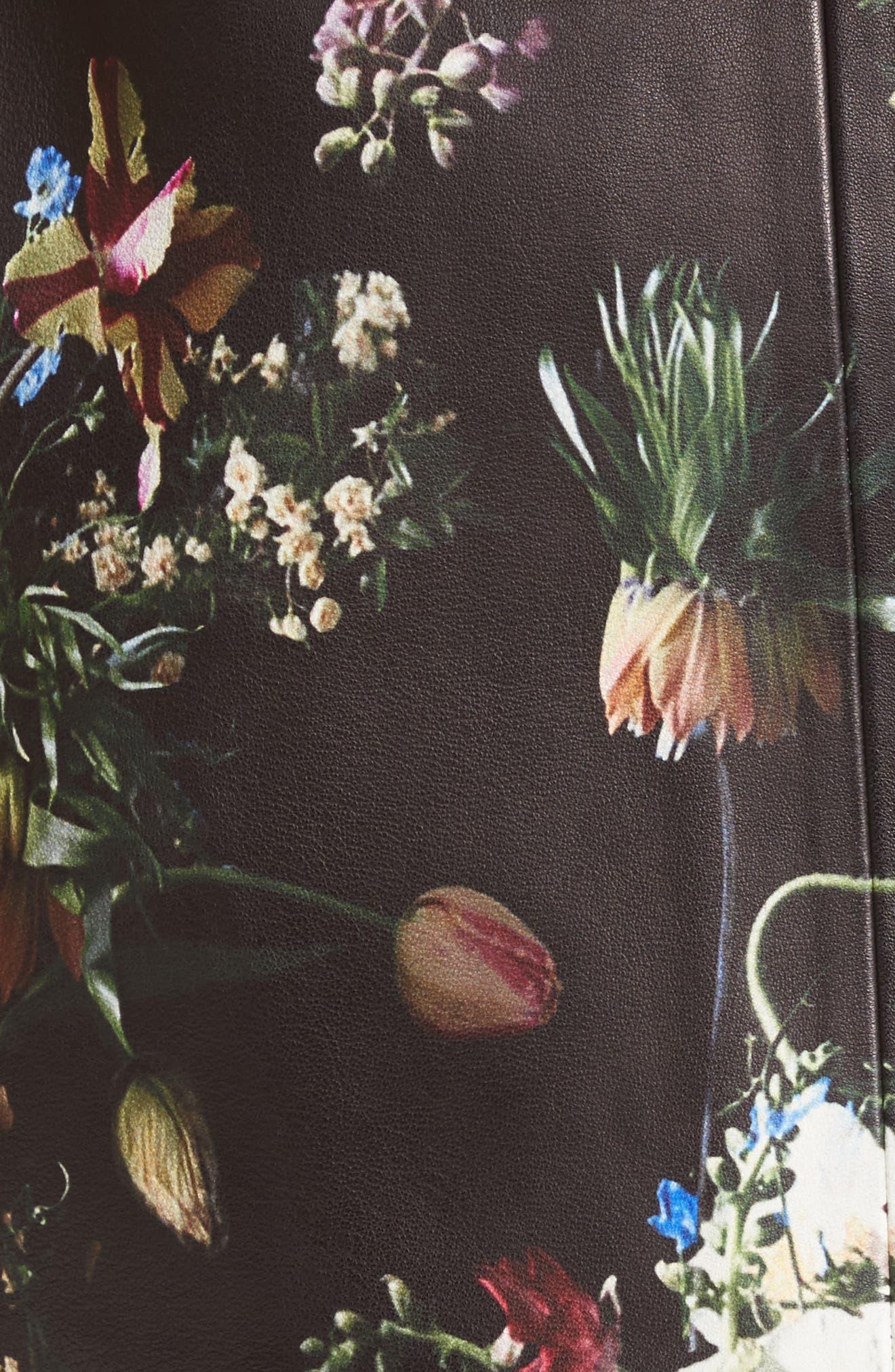 Floral Print Leather Miniskirt,                             Alternate thumbnail 6, color,                             Black