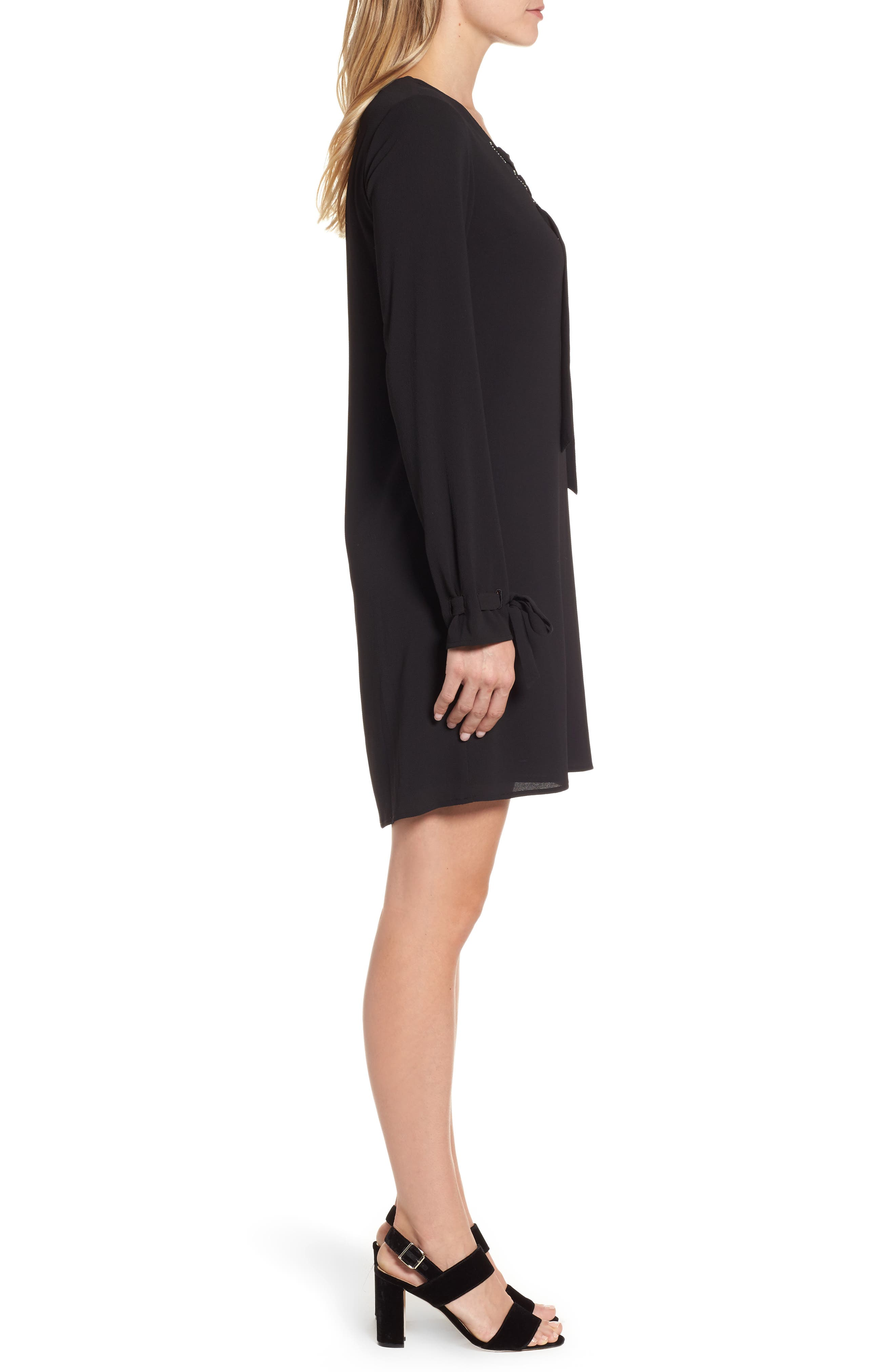 Lace-Up Shift Dress,                             Alternate thumbnail 3, color,                             Black