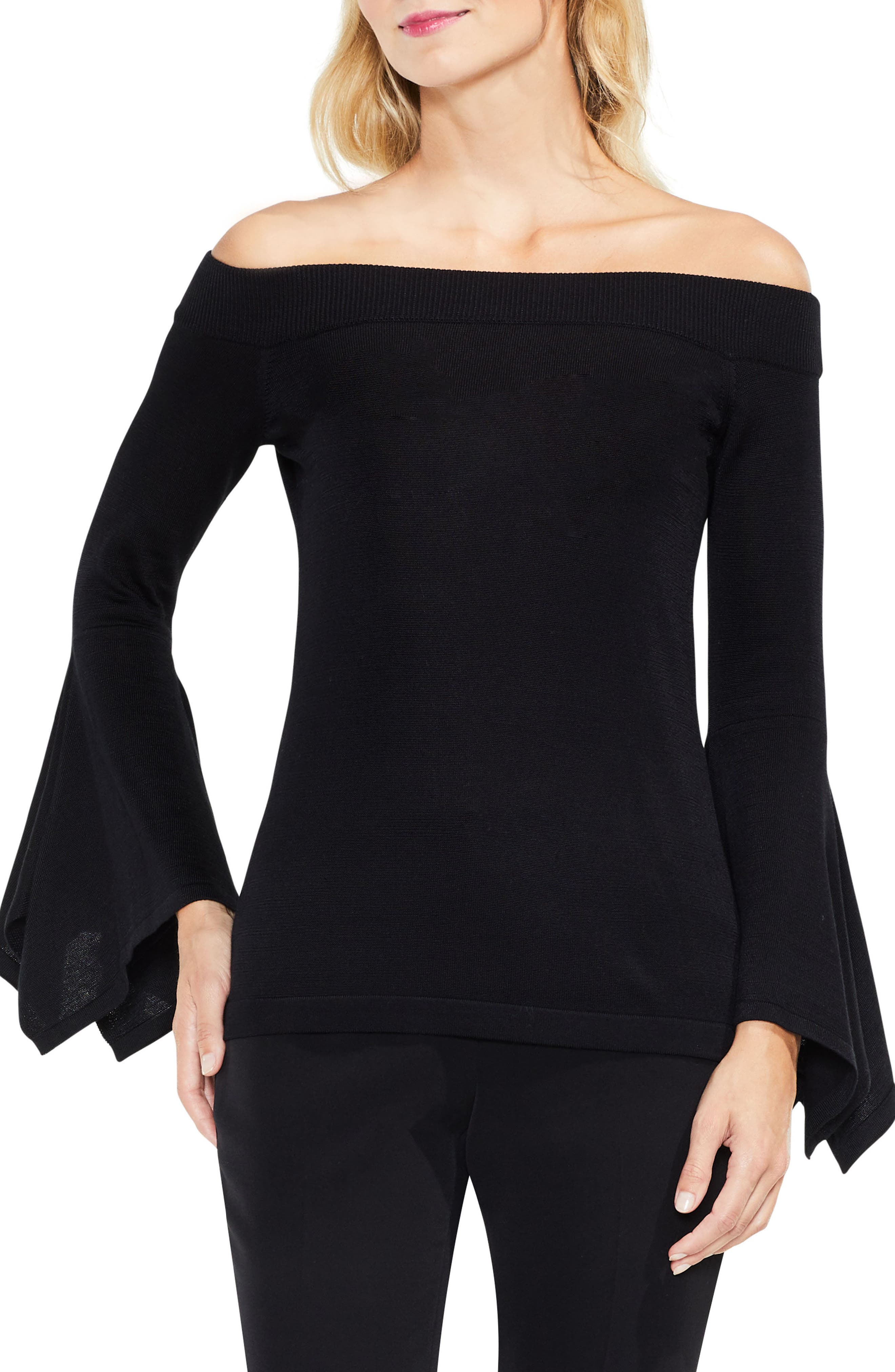 Off the Shoulder Handkerchief Bell Sleeve Sweater,                             Main thumbnail 1, color,                             Rich Black