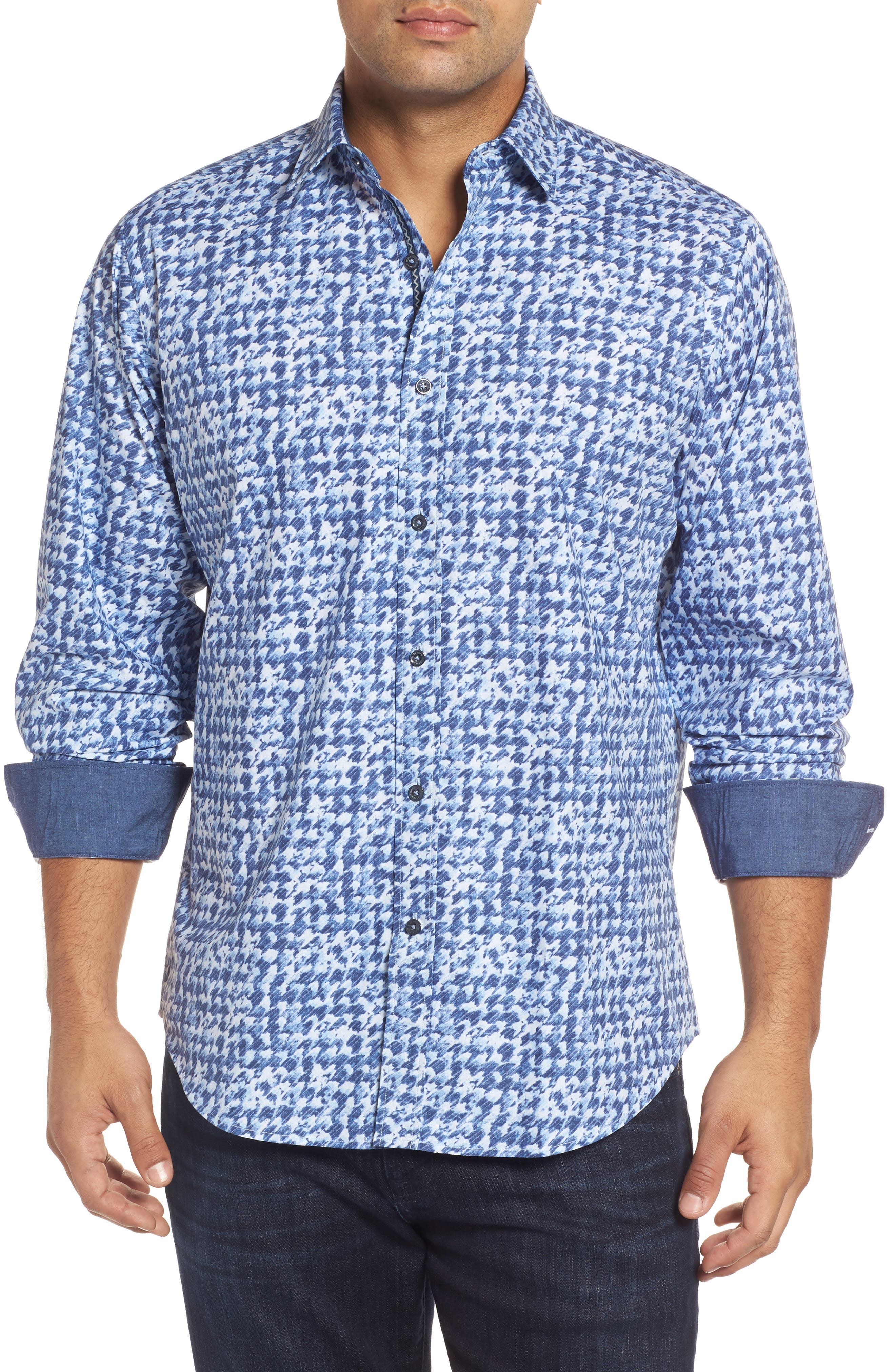 Classic Fit Patterned Sport Shirt,                         Main,                         color, Classic Blue