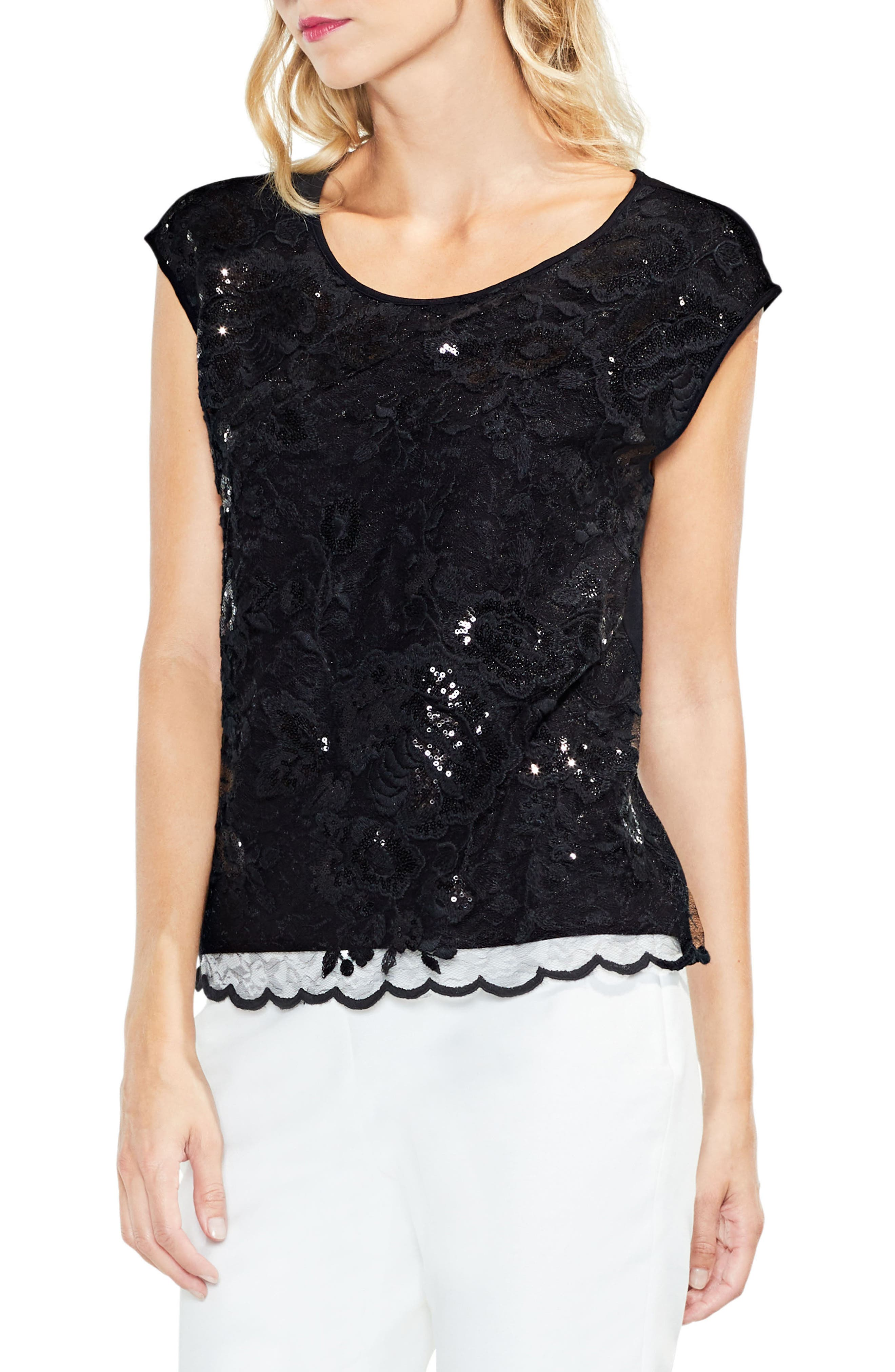 Main Image - Vince Camuto Sequin Lace Blouse